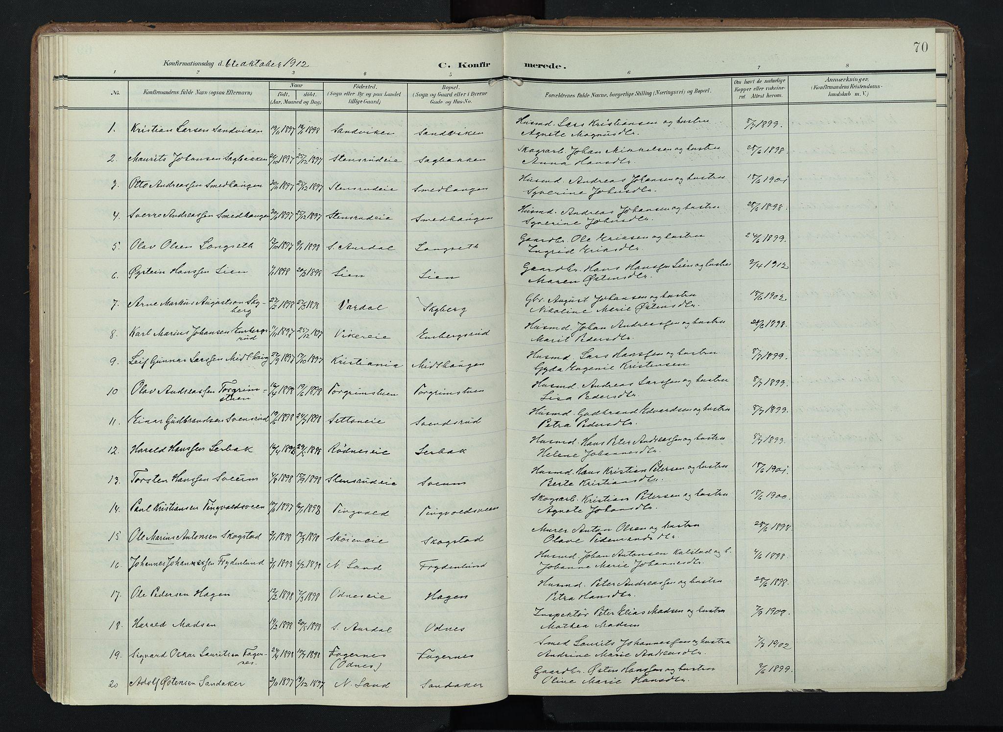 SAH, Søndre Land prestekontor, K/L0005: Ministerialbok nr. 5, 1905-1914, s. 70