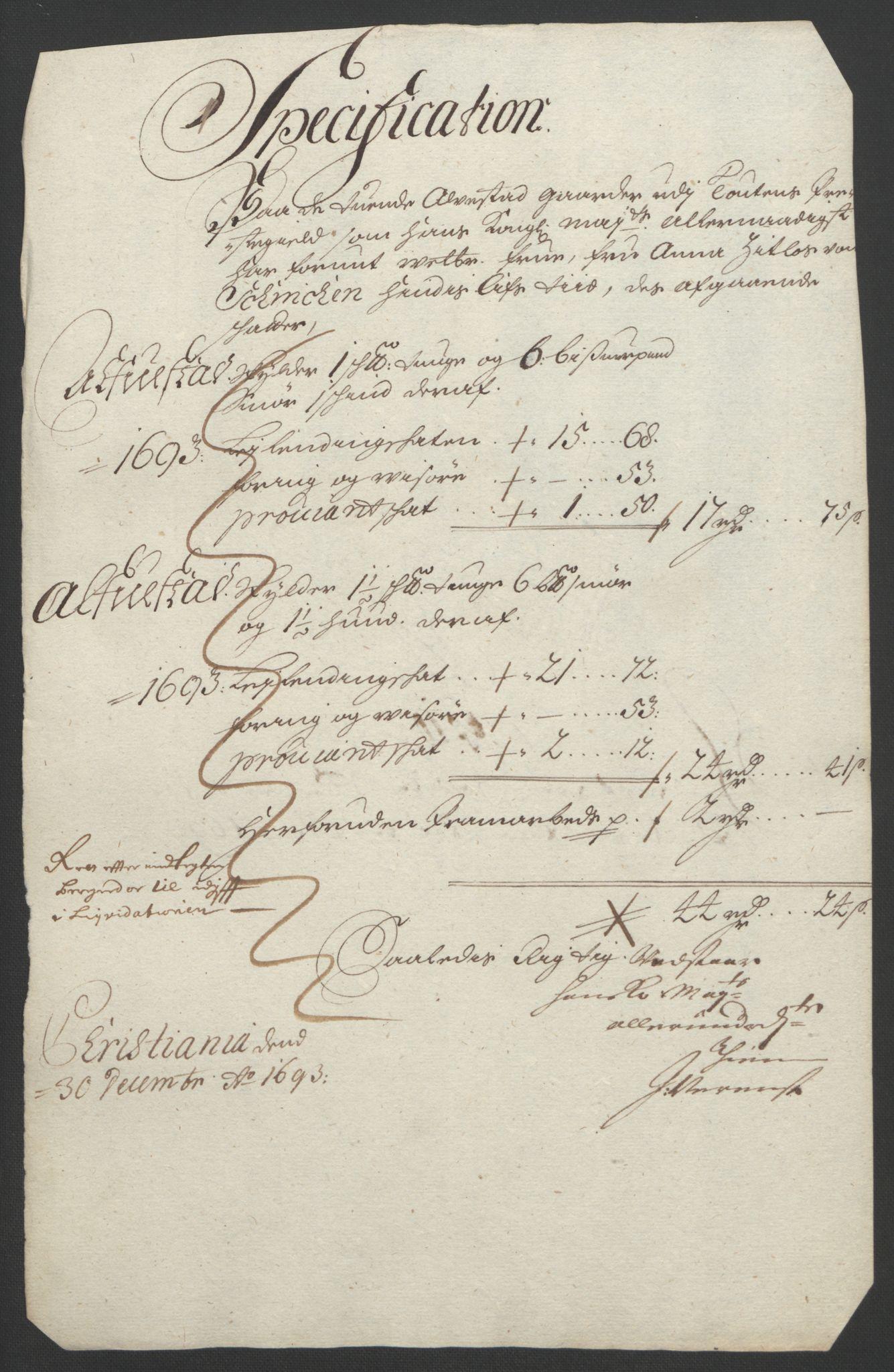 RA, Rentekammeret inntil 1814, Reviderte regnskaper, Fogderegnskap, R18/L1292: Fogderegnskap Hadeland, Toten og Valdres, 1693-1694, s. 157