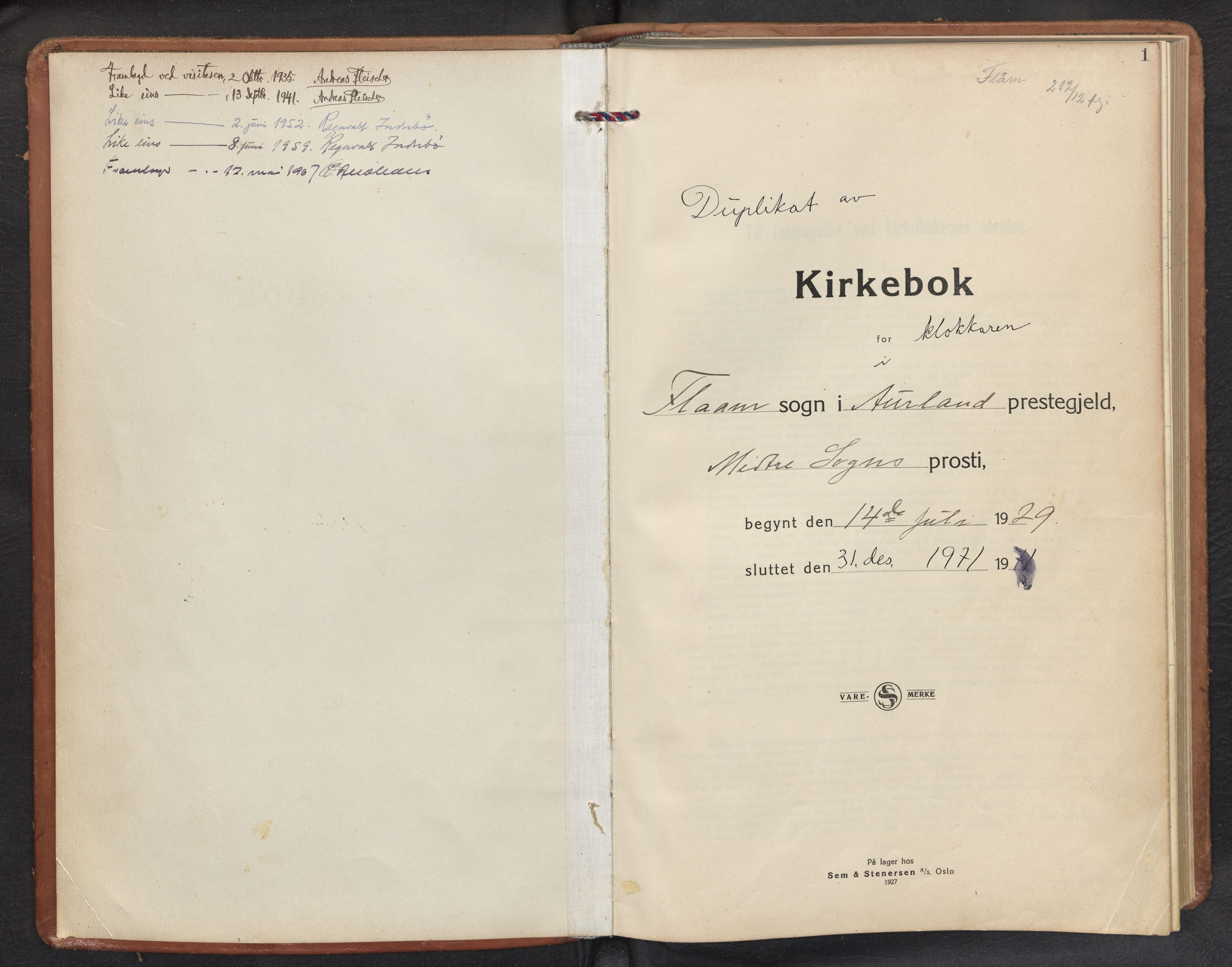 SAB, Aurland Sokneprestembete*, Klokkerbok nr. B 3, 1929-1972, s. 0b-1a