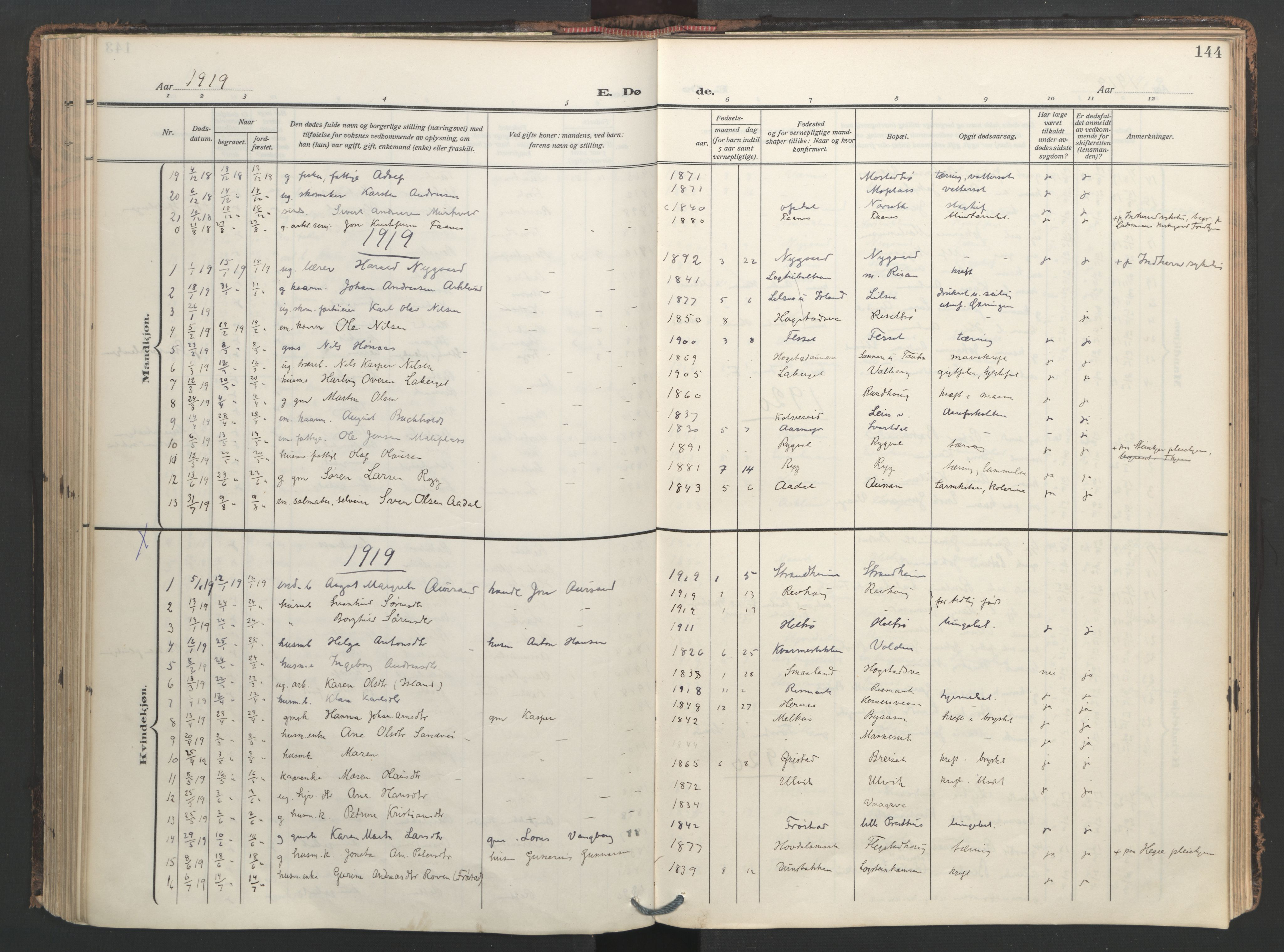 SAT, Ministerialprotokoller, klokkerbøker og fødselsregistre - Nord-Trøndelag, 713/L0123: Ministerialbok nr. 713A12, 1911-1925, s. 144