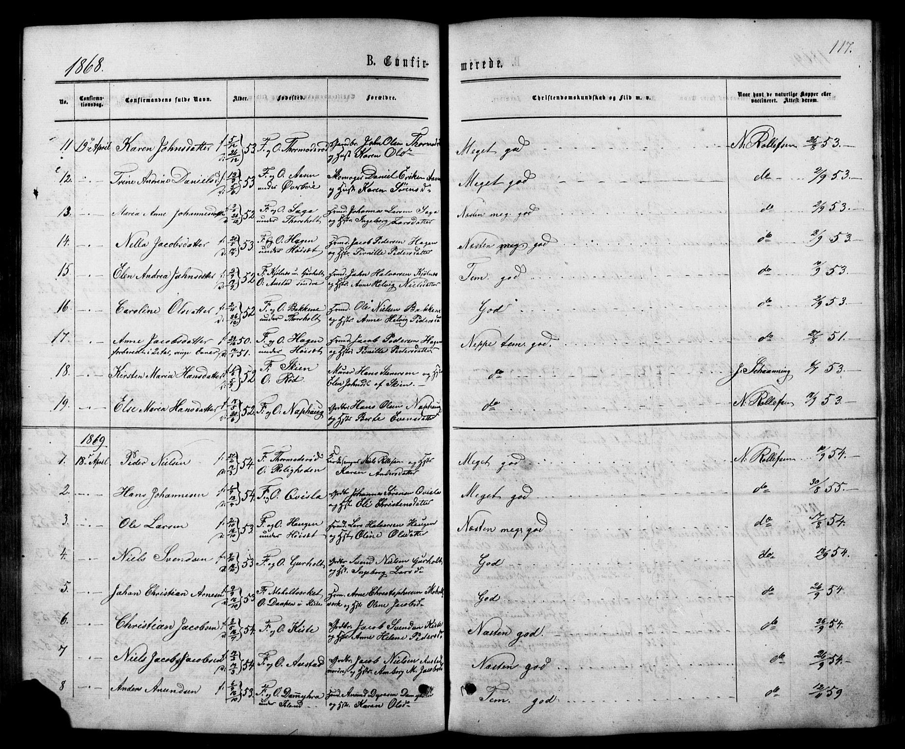 SAKO, Siljan kirkebøker, G/Ga/L0002: Klokkerbok nr. 2, 1864-1908, s. 117