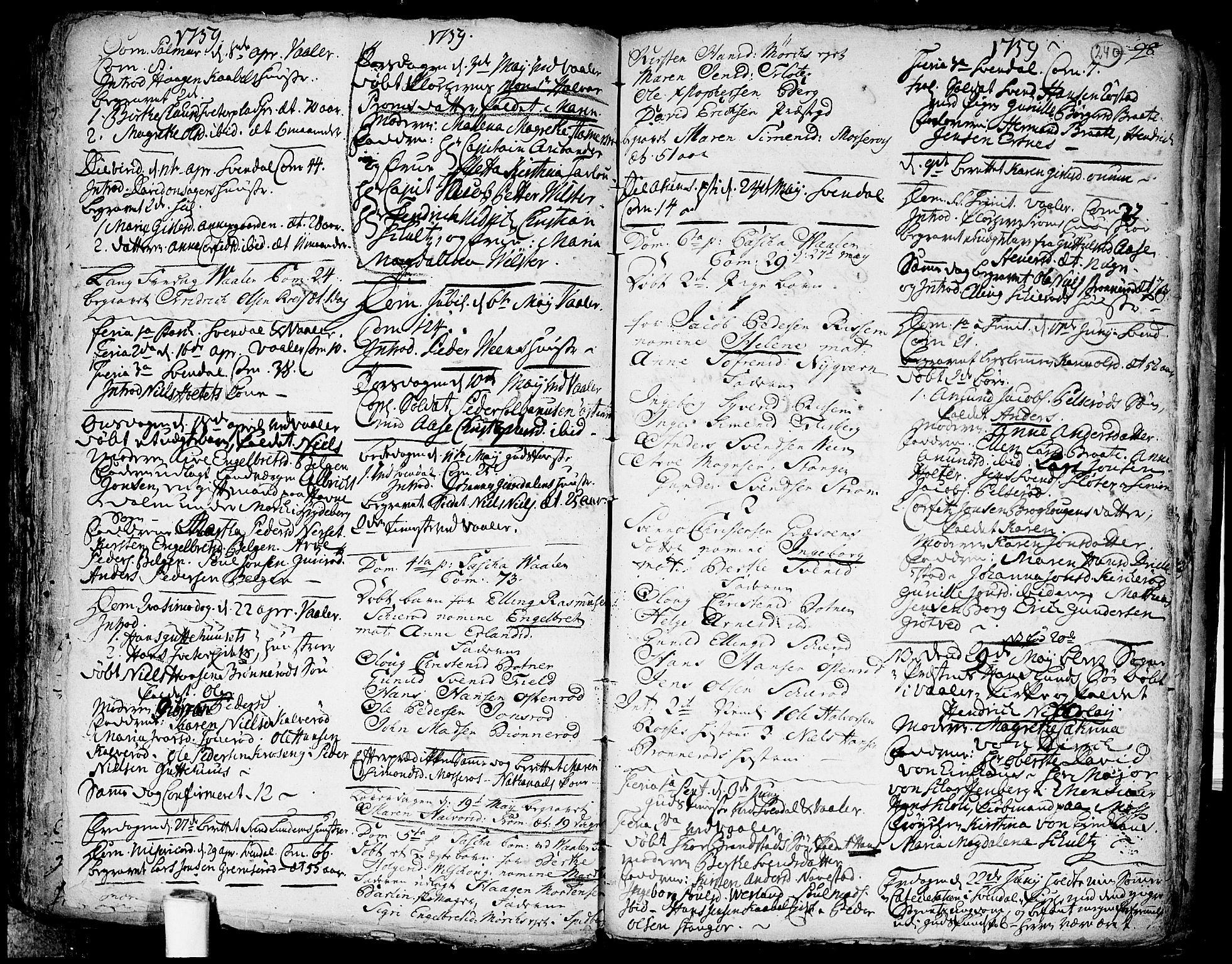 SAO, Våler prestekontor Kirkebøker, F/Fa/L0003: Ministerialbok nr. I 3, 1730-1770, s. 240