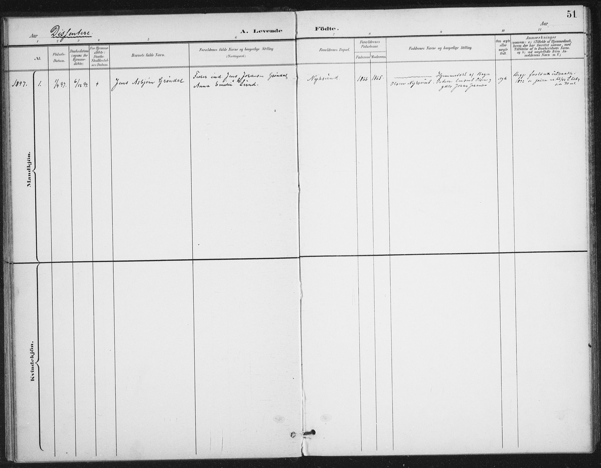 SAT, Ministerialprotokoller, klokkerbøker og fødselsregistre - Nordland, 894/L1356: Ministerialbok nr. 894A02, 1897-1914, s. 51