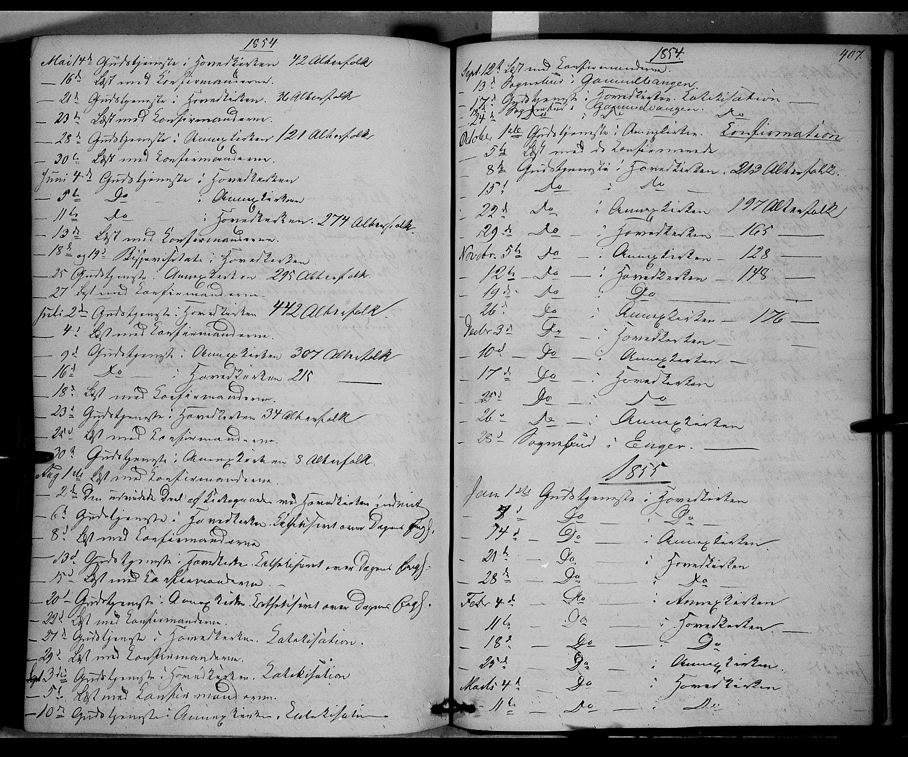 SAH, Vardal prestekontor, H/Ha/Haa/L0006: Ministerialbok nr. 6, 1854-1866, s. 407