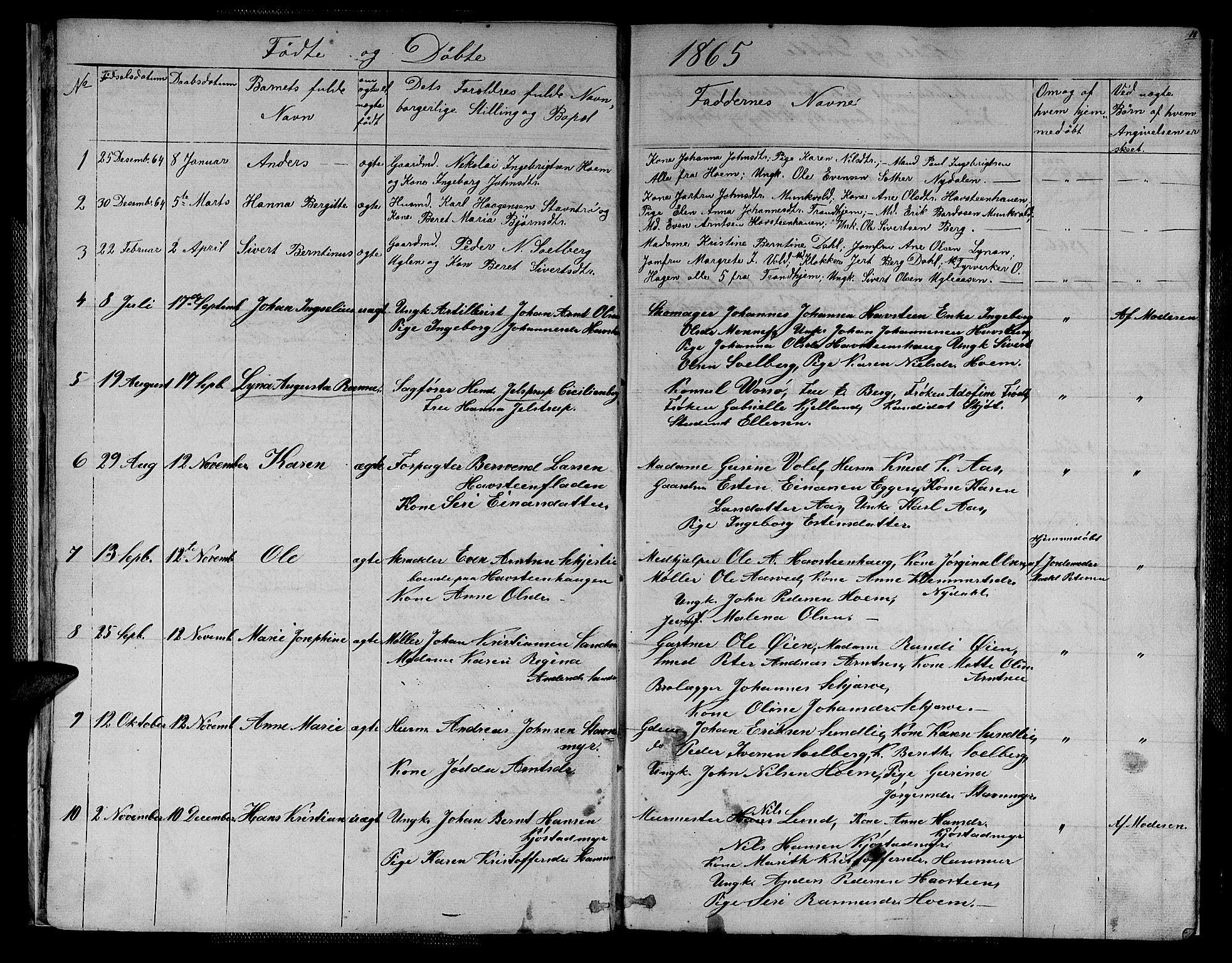 SAT, Ministerialprotokoller, klokkerbøker og fødselsregistre - Sør-Trøndelag, 611/L0353: Klokkerbok nr. 611C01, 1854-1881, s. 11