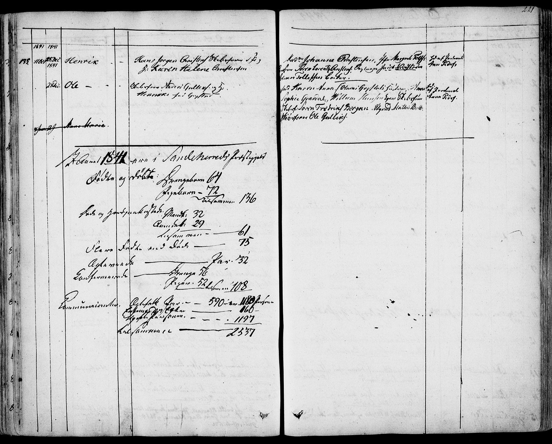 SAKO, Sandar kirkebøker, F/Fa/L0005: Ministerialbok nr. 5, 1832-1847, s. 220-221