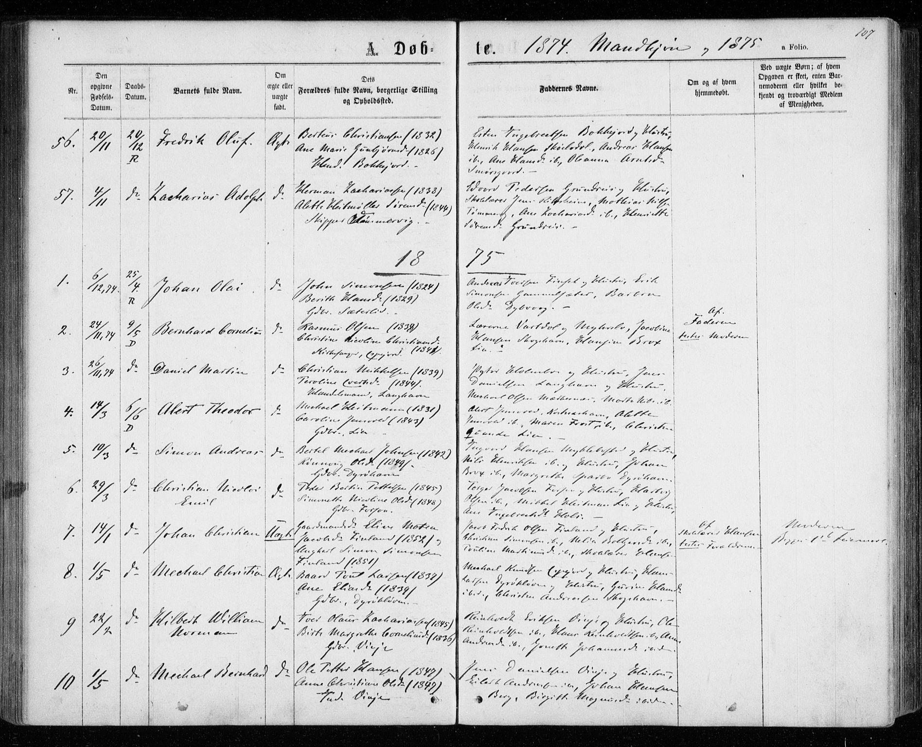 SATØ, Tranøy sokneprestkontor, I/Ia/Iaa/L0008kirke: Ministerialbok nr. 8, 1867-1877, s. 107