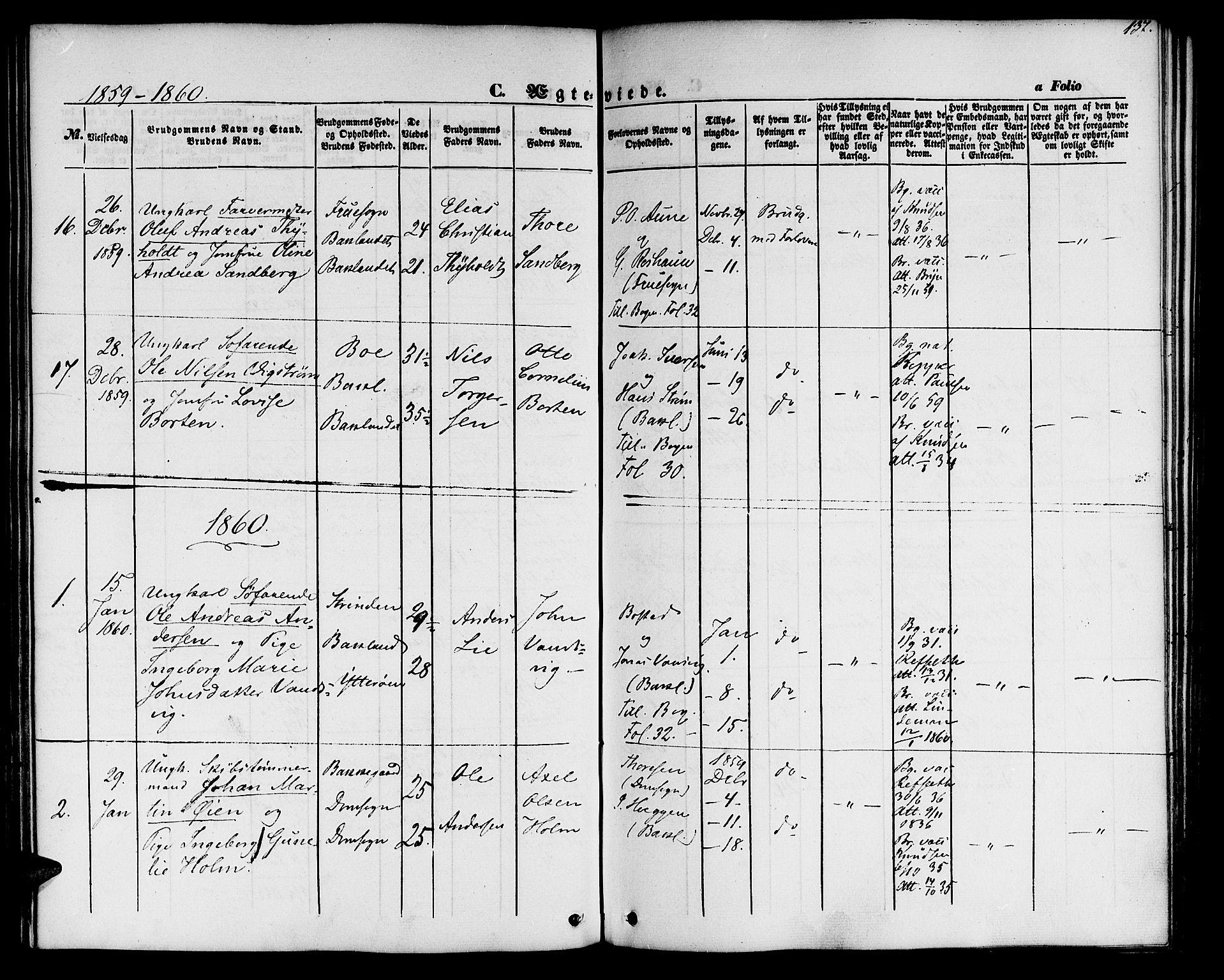 SAT, Ministerialprotokoller, klokkerbøker og fødselsregistre - Sør-Trøndelag, 604/L0184: Ministerialbok nr. 604A05, 1851-1860, s. 137