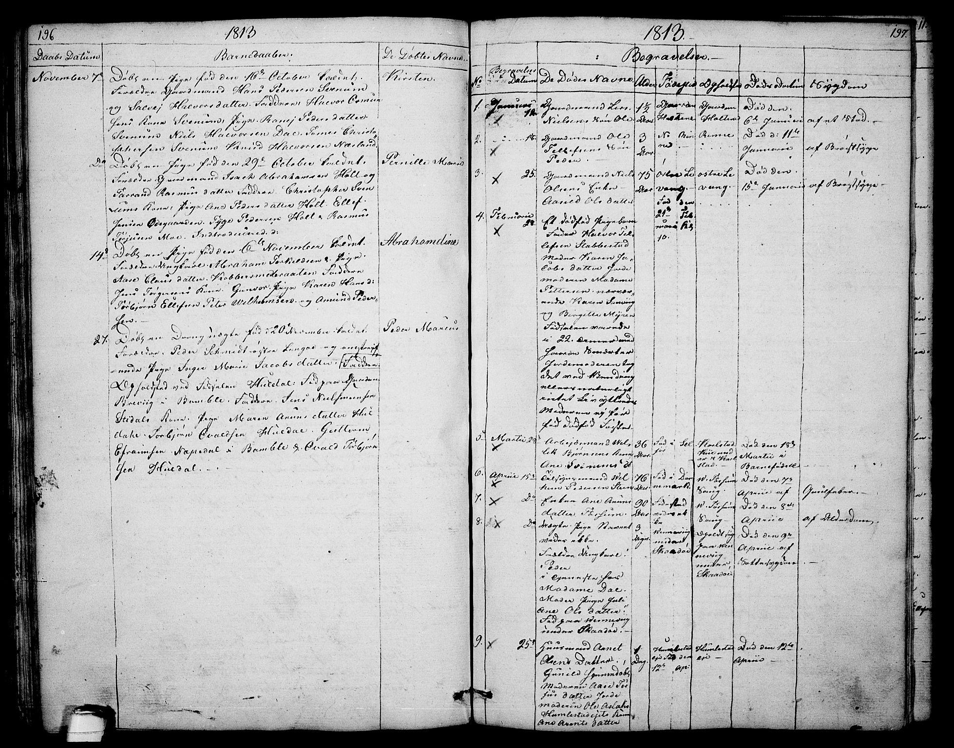 SAKO, Sannidal kirkebøker, F/Fa/L0003: Ministerialbok nr. 3, 1803-1813, s. 196-197