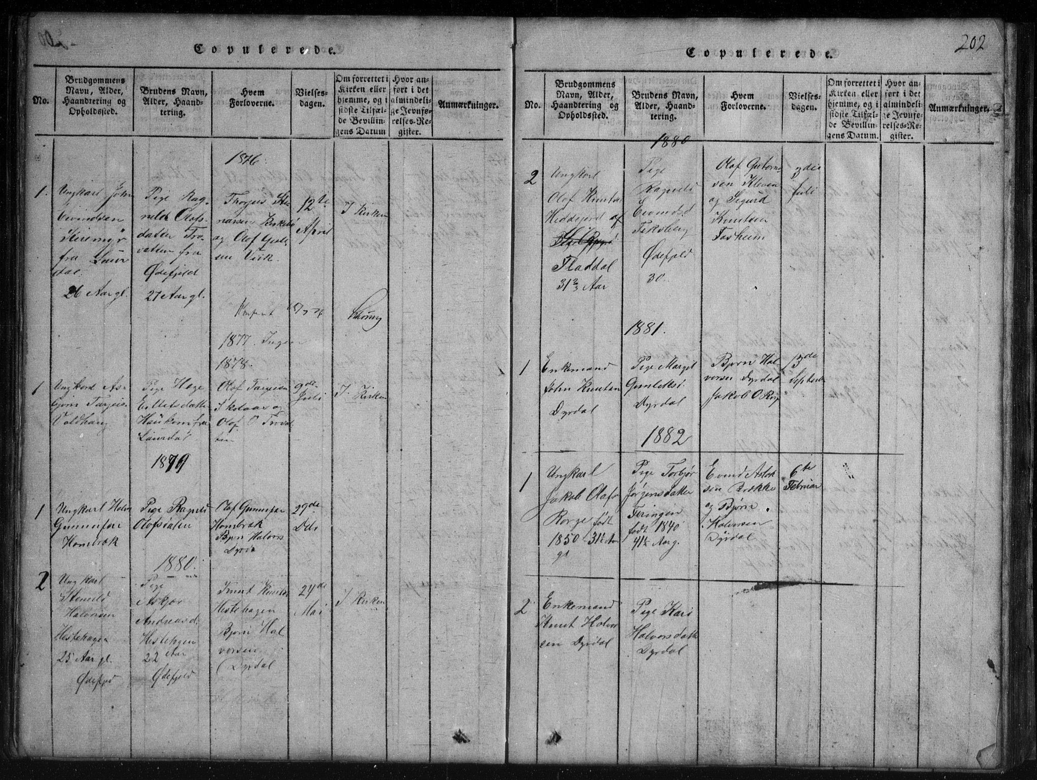 SAKO, Rauland kirkebøker, G/Gb/L0001: Klokkerbok nr. II 1, 1815-1886, s. 202