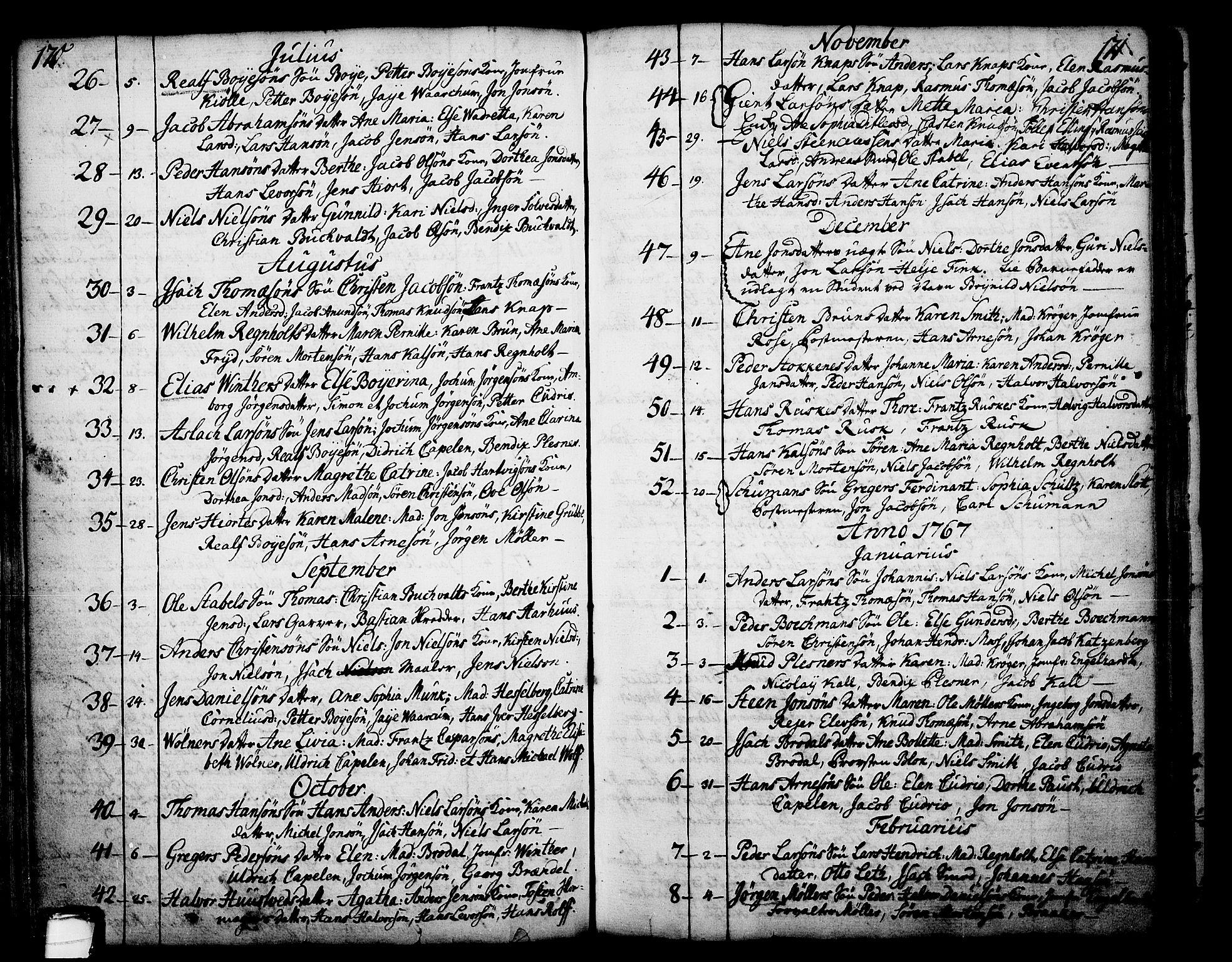 SAKO, Skien kirkebøker, F/Fa/L0003: Ministerialbok nr. 3, 1755-1791, s. 170-171