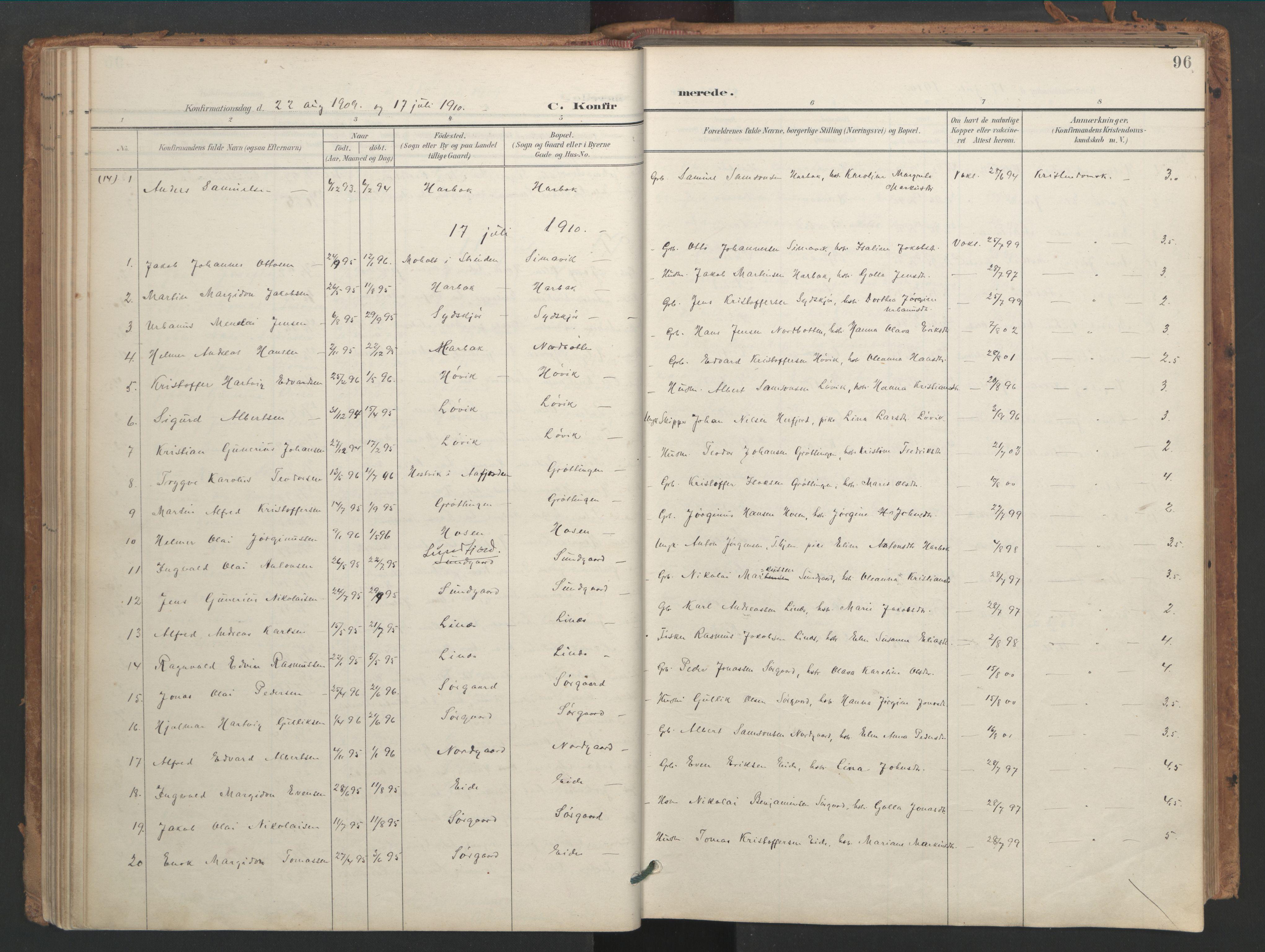 SAT, Ministerialprotokoller, klokkerbøker og fødselsregistre - Sør-Trøndelag, 656/L0693: Ministerialbok nr. 656A02, 1894-1913, s. 96