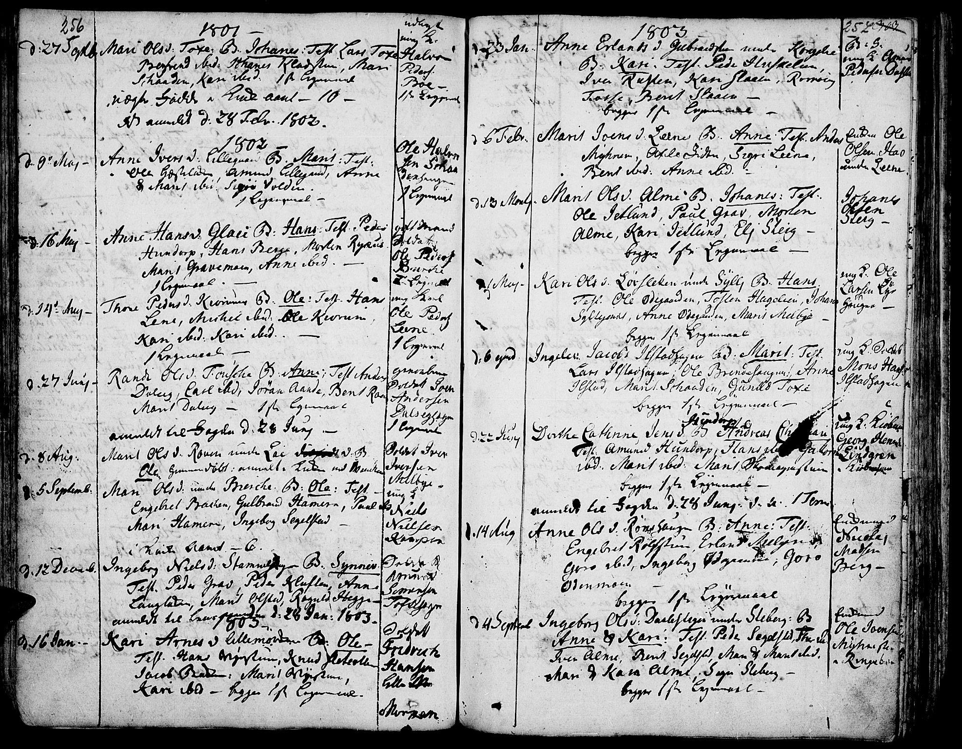 SAH, Fron prestekontor, H/Ha/Haa/L0001: Ministerialbok nr. 1, 1799-1816, s. 256-257