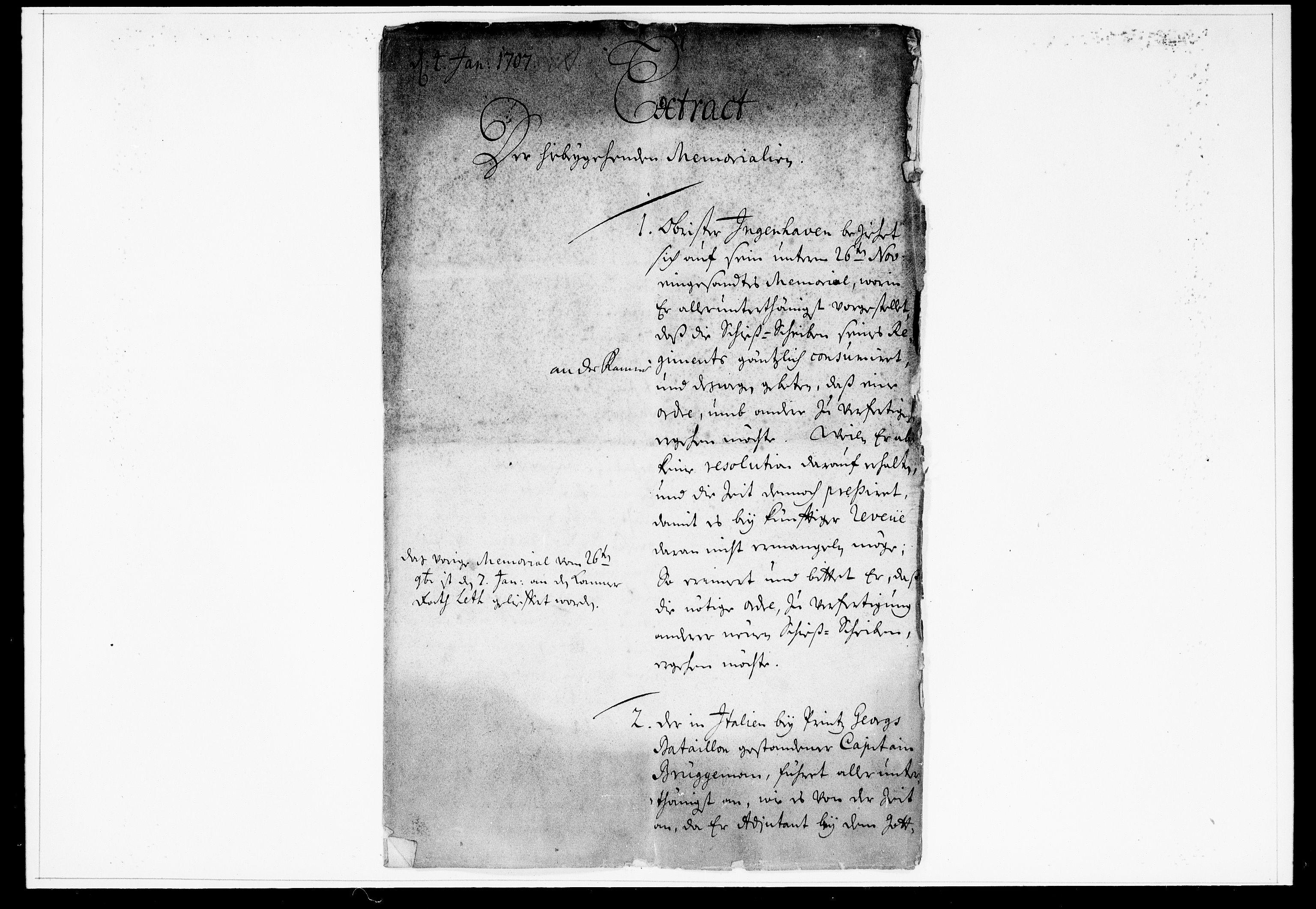 DRA, Krigskollegiet, Krigskancelliet, -/0957-0961: Refererede sager, 1707, s. 2