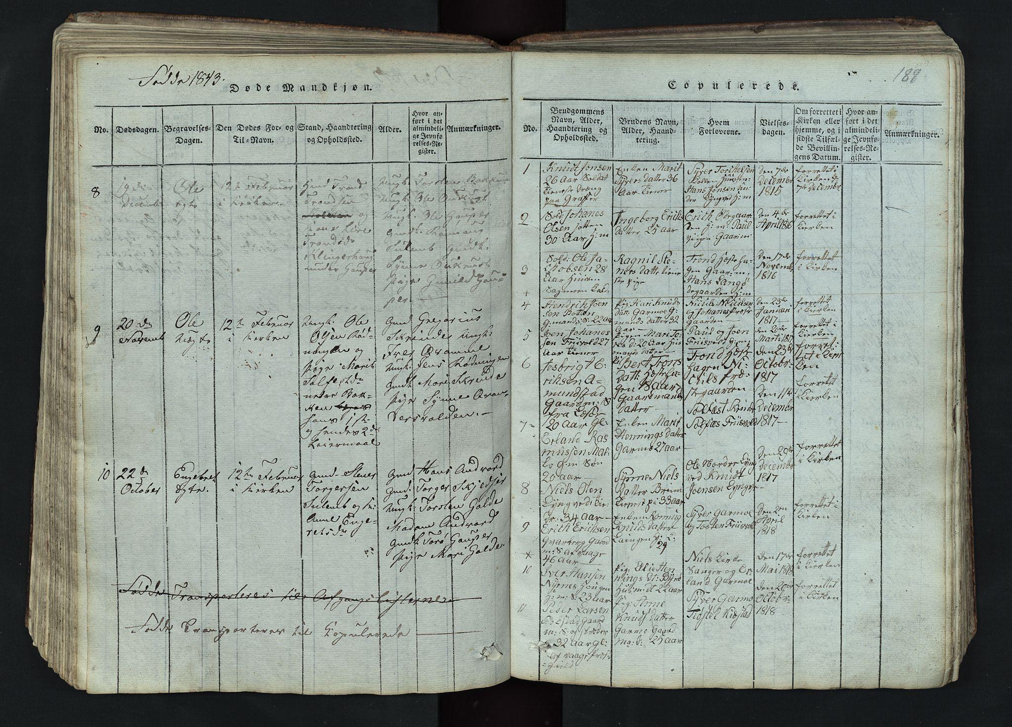 SAH, Lom prestekontor, L/L0002: Klokkerbok nr. 2, 1815-1844, s. 188