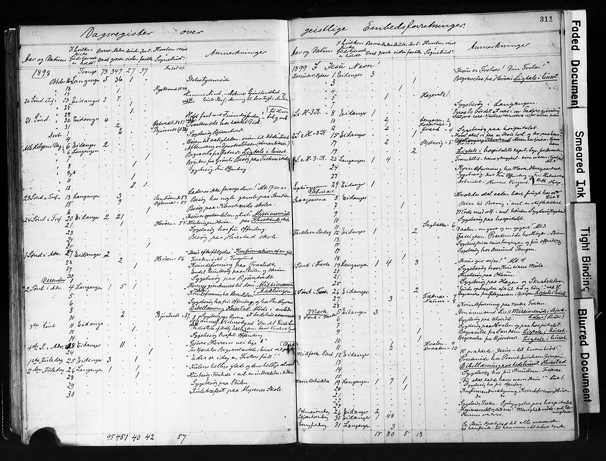 SAKO, Eidanger kirkebøker, F/Fa/L0012: Ministerialbok nr. 12, 1879-1900, s. 311