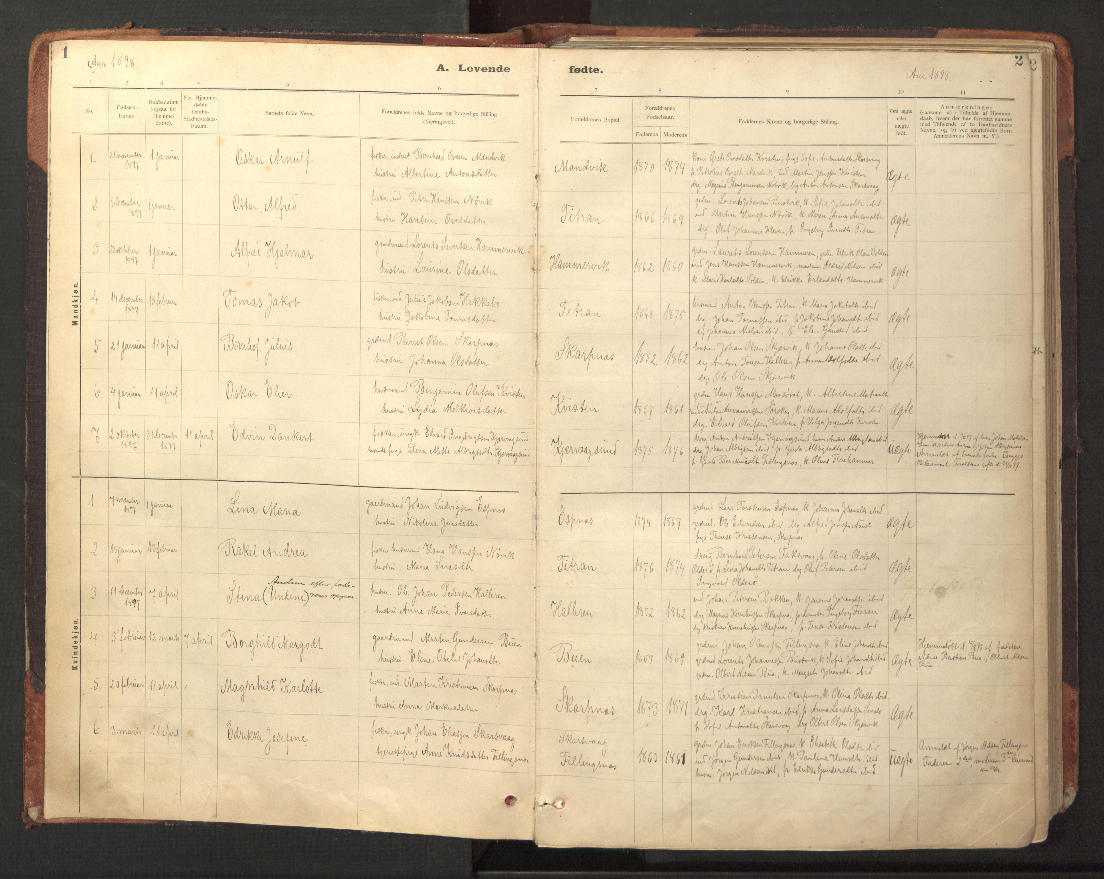SAT, Ministerialprotokoller, klokkerbøker og fødselsregistre - Sør-Trøndelag, 641/L0596: Ministerialbok nr. 641A02, 1898-1915, s. 1-2