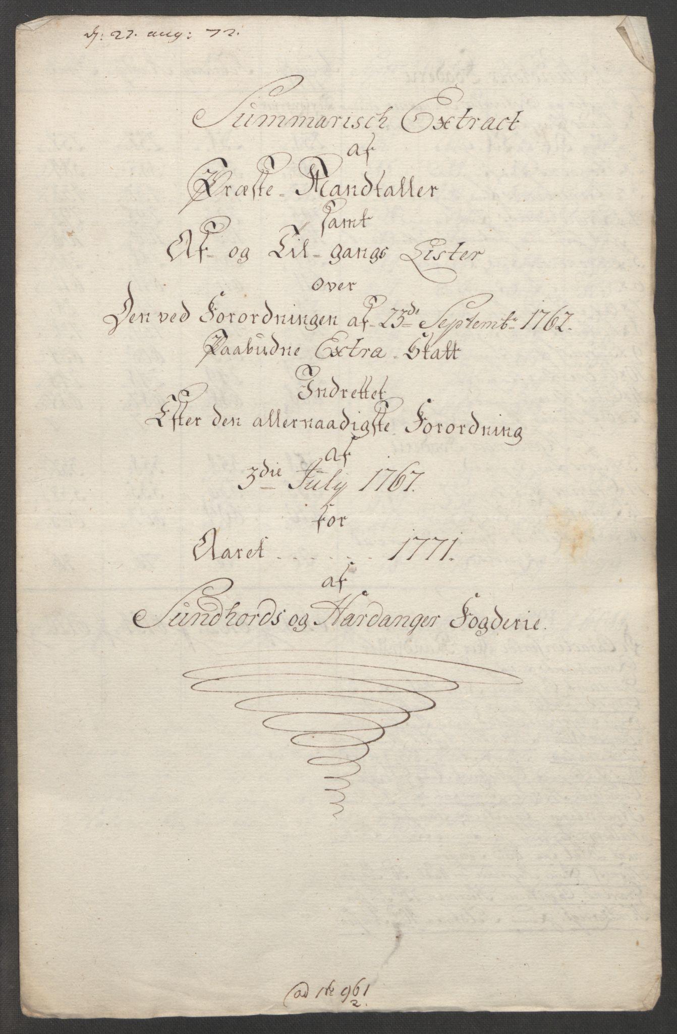RA, Rentekammeret inntil 1814, Reviderte regnskaper, Fogderegnskap, R48/L3136: Ekstraskatten Sunnhordland og Hardanger, 1762-1772, s. 247