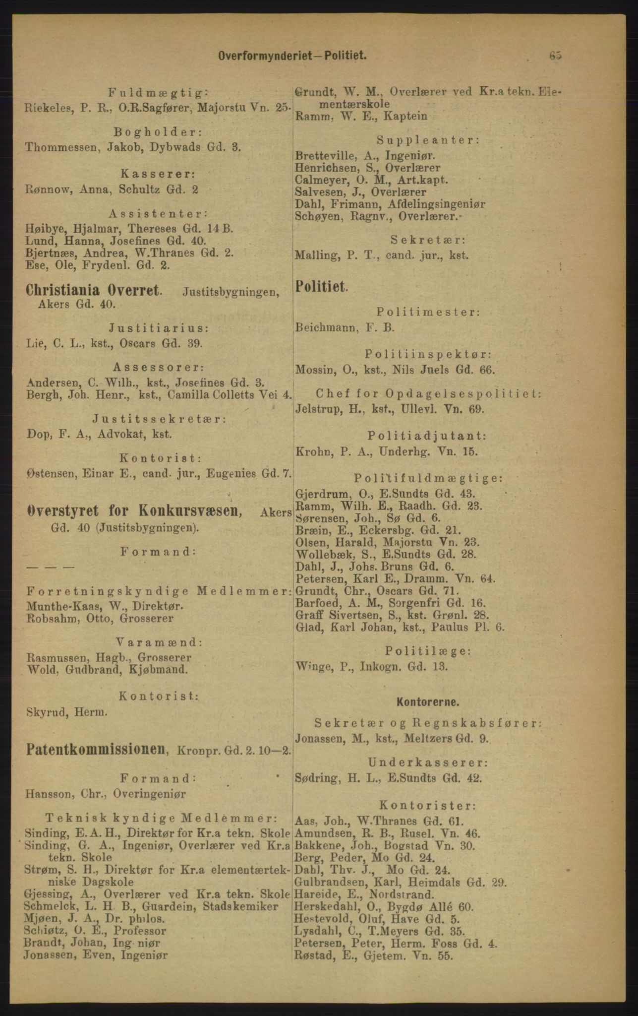RA, Kristiania adressebok (publikasjon)*, 1906, s. 65