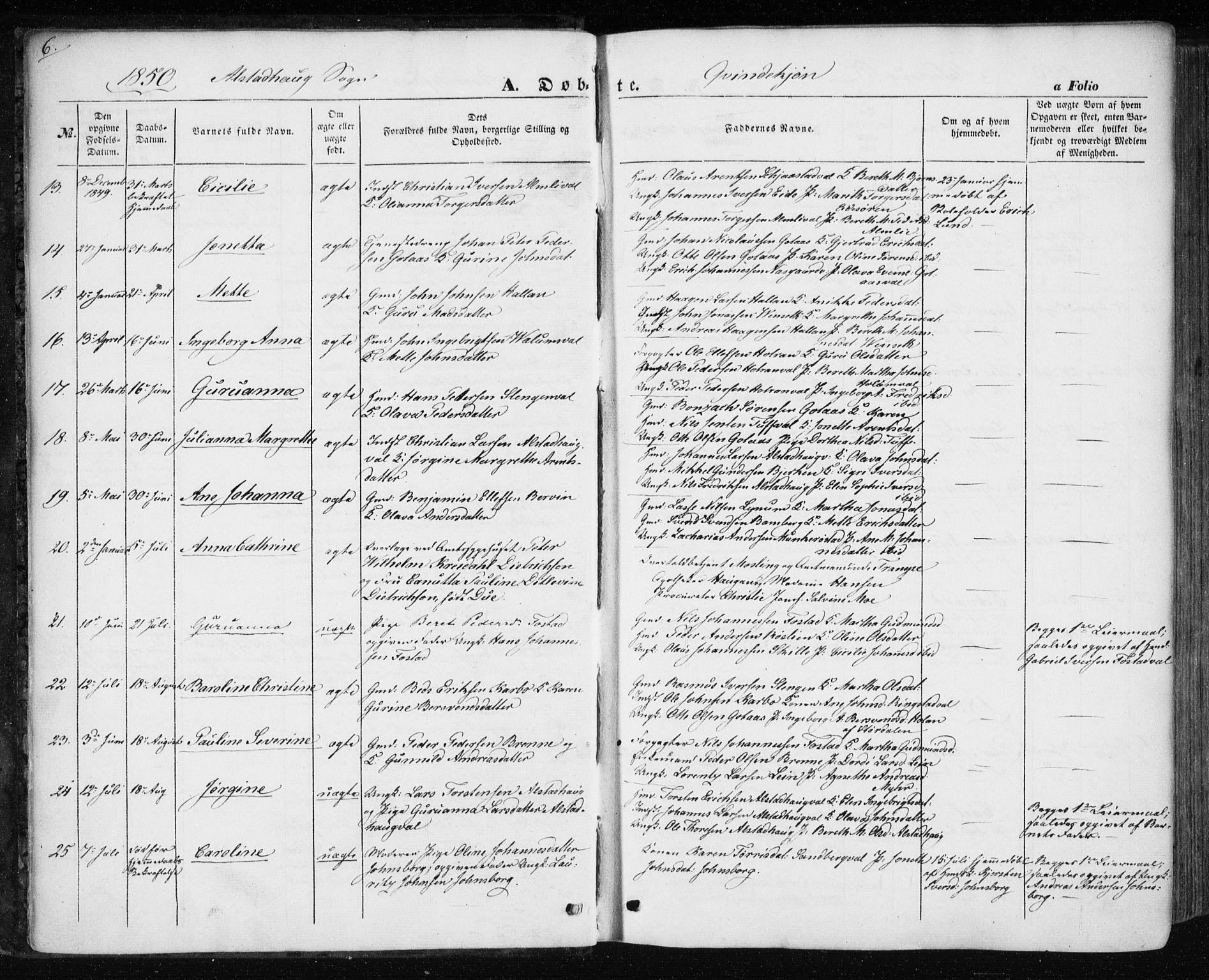 SAT, Ministerialprotokoller, klokkerbøker og fødselsregistre - Nord-Trøndelag, 717/L0154: Ministerialbok nr. 717A07 /1, 1850-1862, s. 6