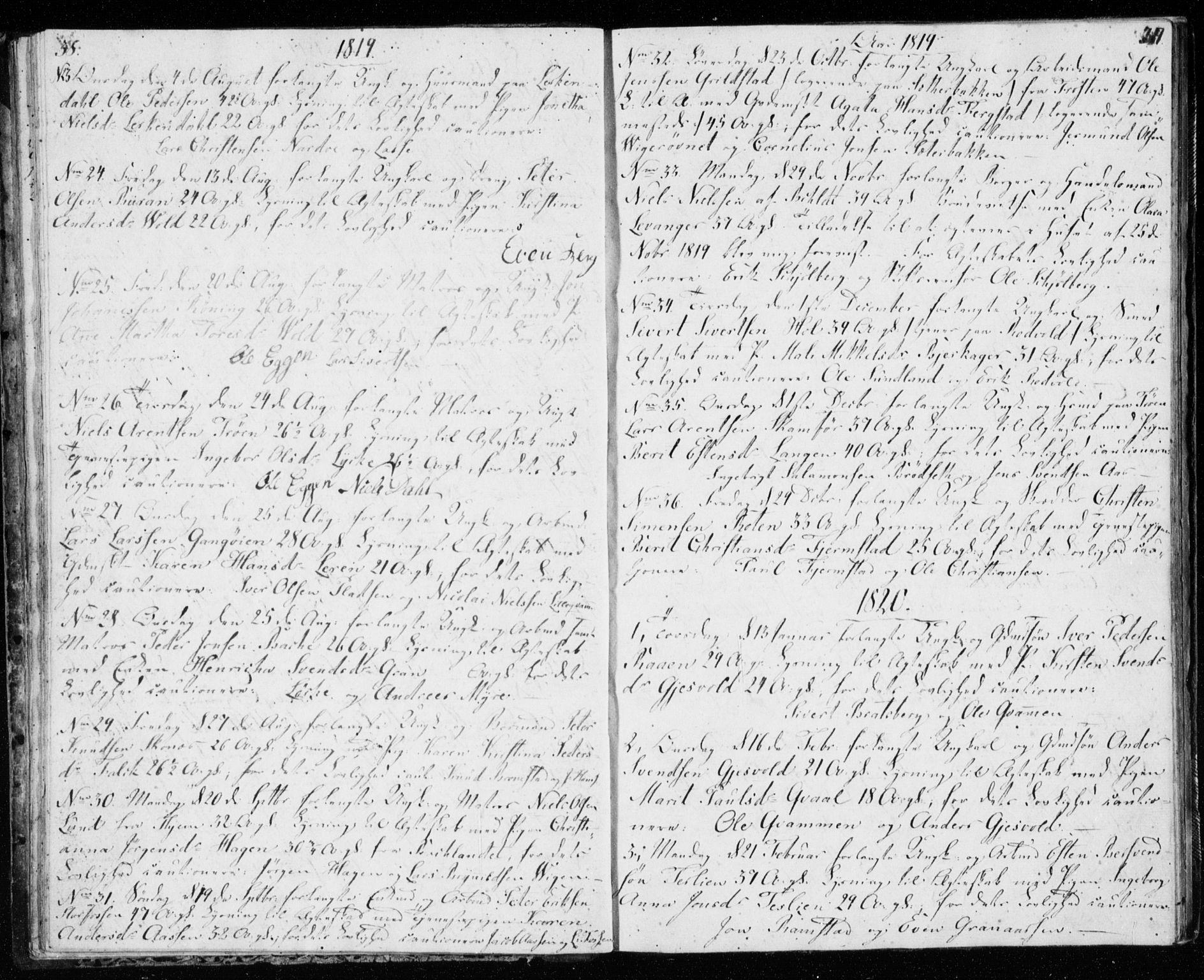 SAT, Ministerialprotokoller, klokkerbøker og fødselsregistre - Sør-Trøndelag, 606/L0295: Lysningsprotokoll nr. 606A10, 1815-1833, s. 38-39
