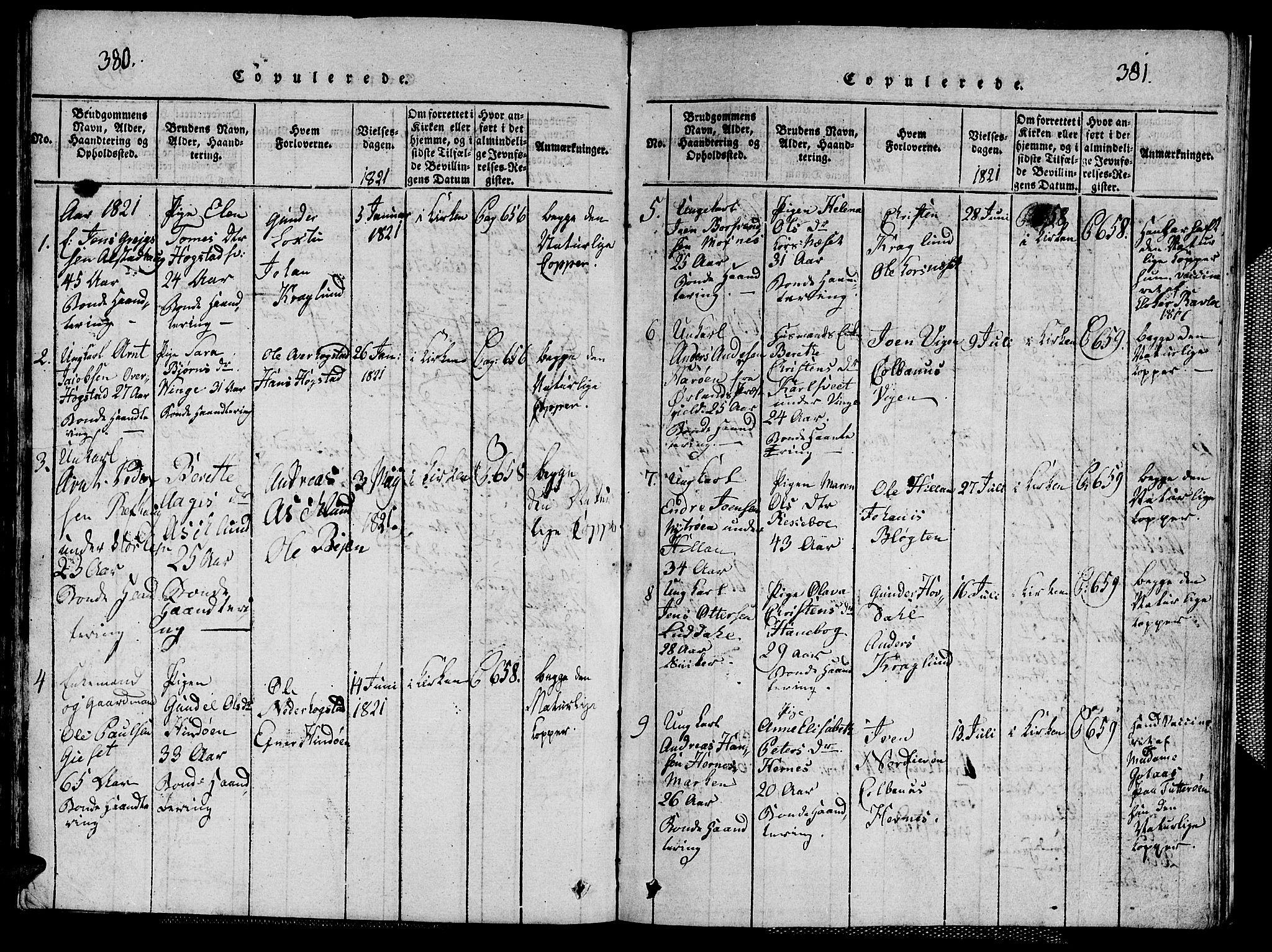 SAT, Ministerialprotokoller, klokkerbøker og fødselsregistre - Nord-Trøndelag, 713/L0124: Klokkerbok nr. 713C01, 1817-1827, s. 380-381