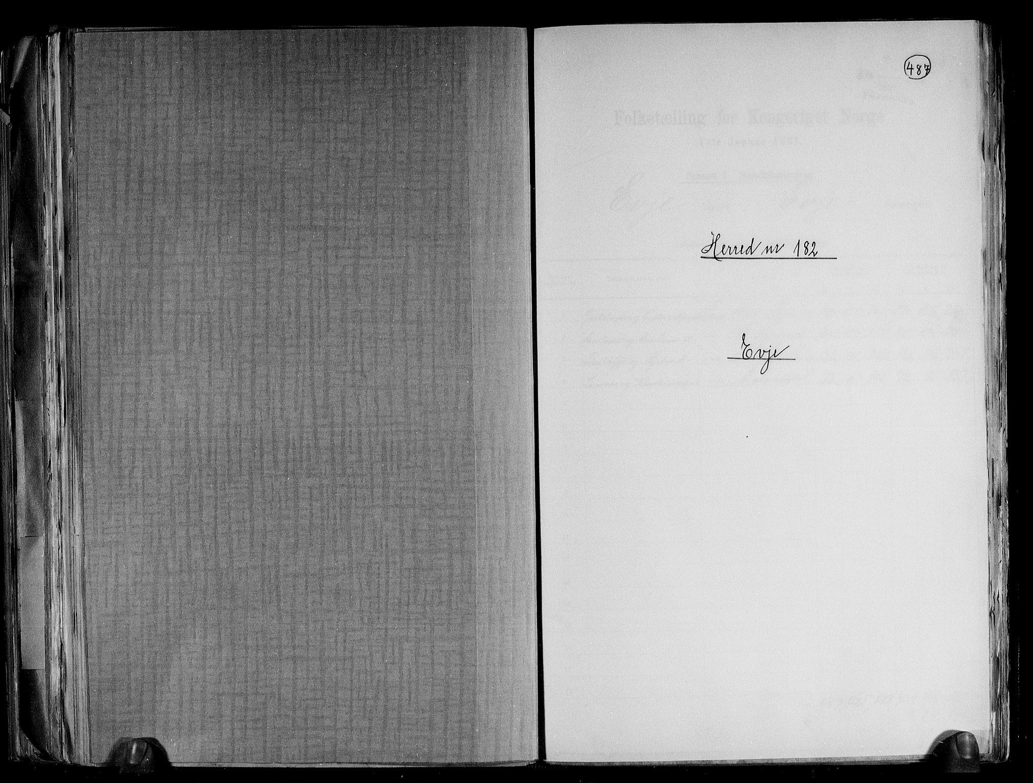 RA, Folketelling 1891 for 0937 Evje herred, 1891, s. 1