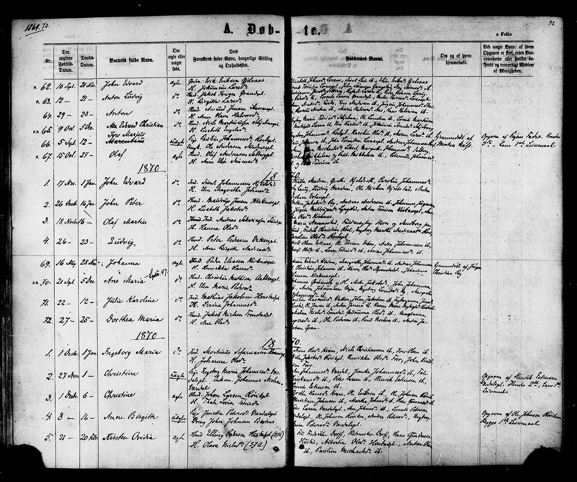 SAT, Ministerialprotokoller, klokkerbøker og fødselsregistre - Nord-Trøndelag, 730/L0284: Ministerialbok nr. 730A09, 1866-1878, s. 32