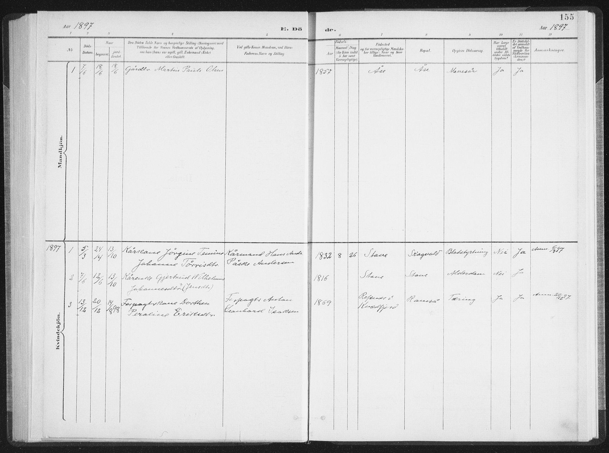 SAT, Ministerialprotokoller, klokkerbøker og fødselsregistre - Nordland, 897/L1400: Ministerialbok nr. 897A07, 1897-1908, s. 155