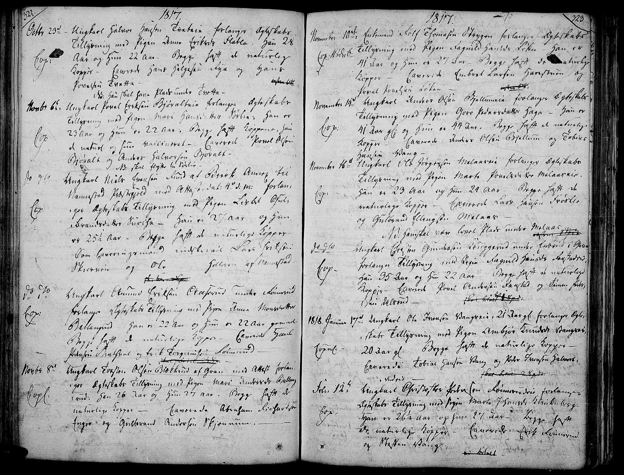 SAH, Jevnaker prestekontor, Ministerialbok nr. 4, 1800-1861, s. 322-323