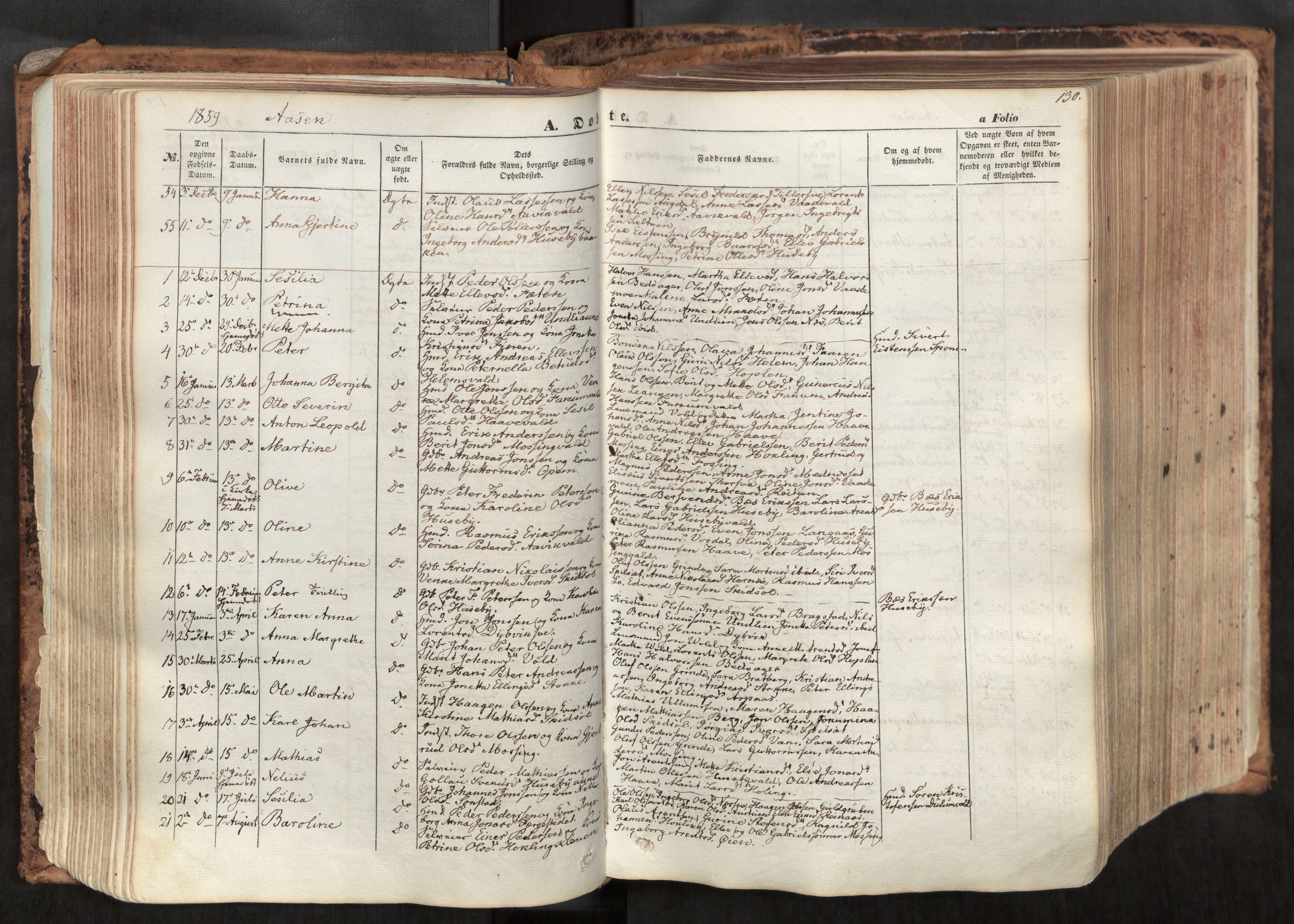SAT, Ministerialprotokoller, klokkerbøker og fødselsregistre - Nord-Trøndelag, 713/L0116: Ministerialbok nr. 713A07, 1850-1877, s. 130