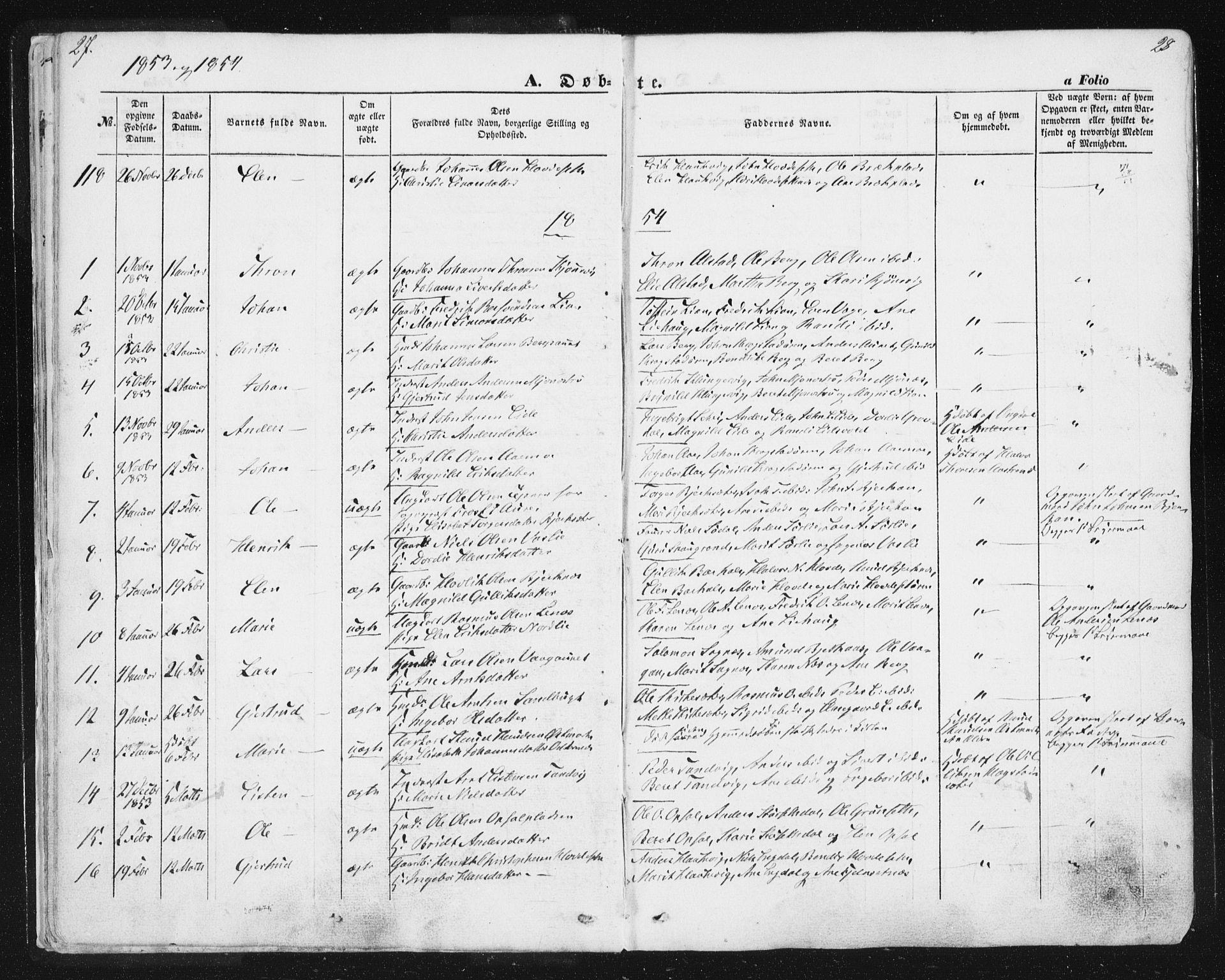 SAT, Ministerialprotokoller, klokkerbøker og fødselsregistre - Sør-Trøndelag, 630/L0494: Ministerialbok nr. 630A07, 1852-1868, s. 27-28
