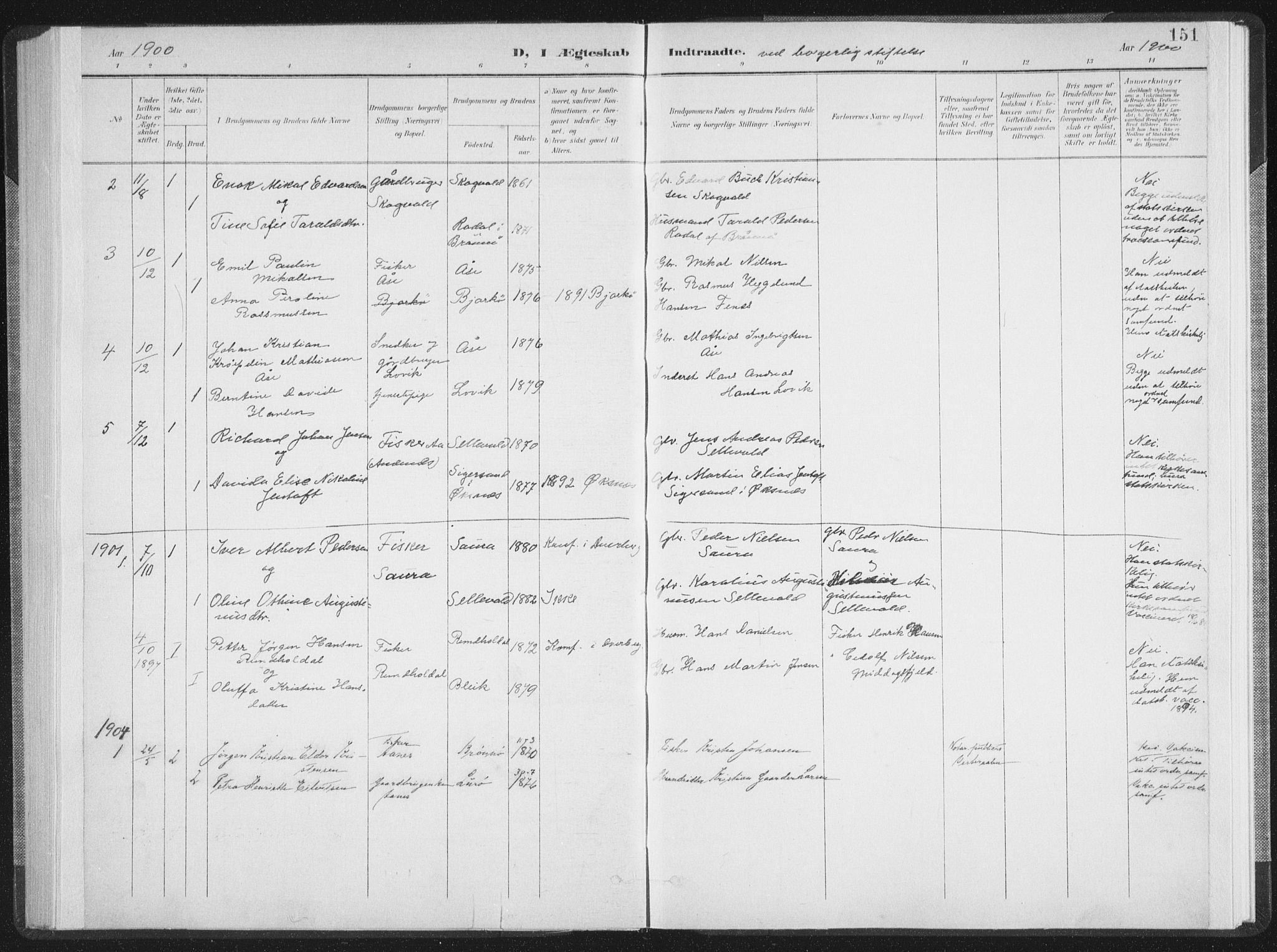 SAT, Ministerialprotokoller, klokkerbøker og fødselsregistre - Nordland, 897/L1400: Ministerialbok nr. 897A07, 1897-1908, s. 151
