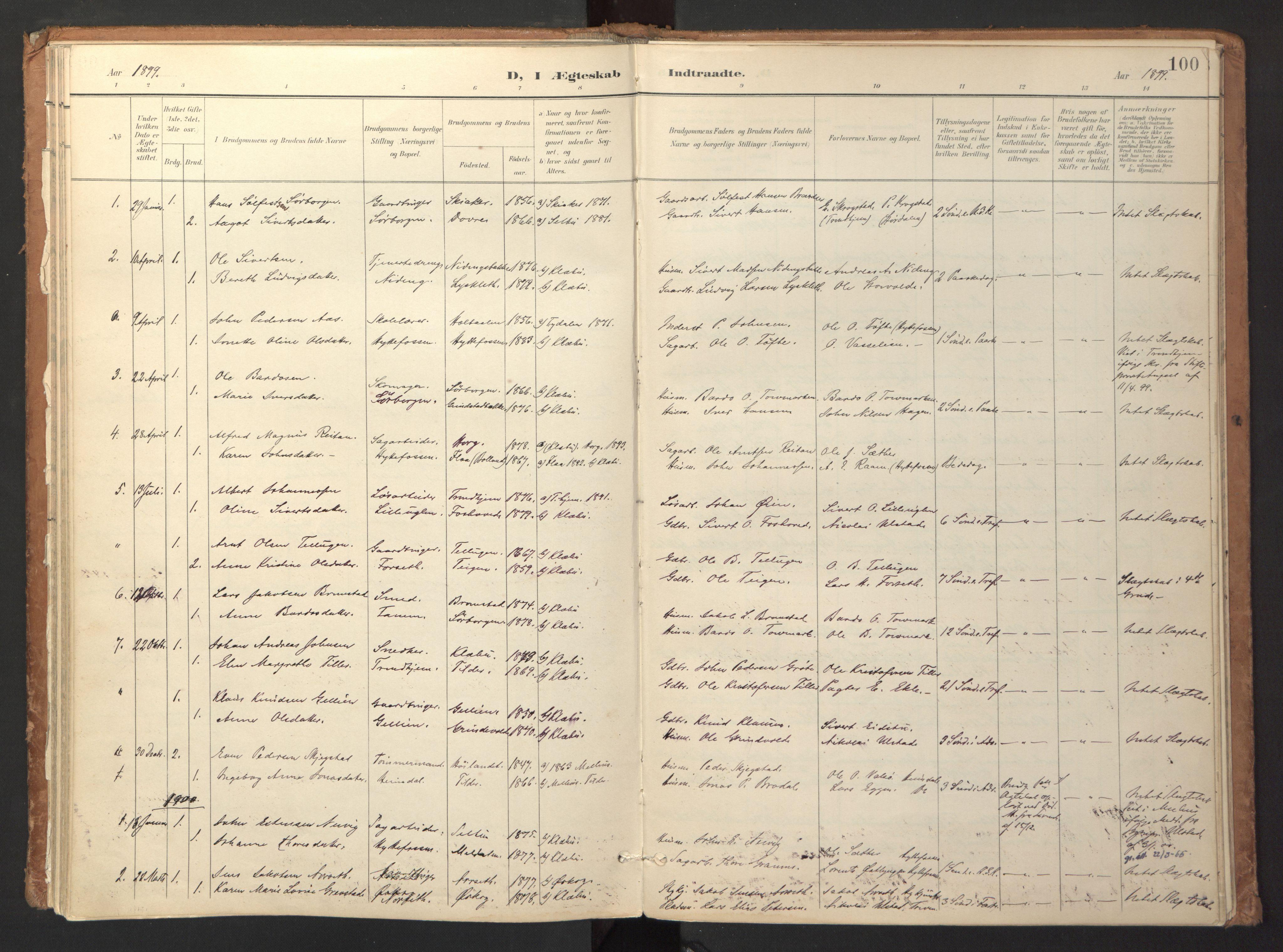 SAT, Ministerialprotokoller, klokkerbøker og fødselsregistre - Sør-Trøndelag, 618/L0448: Ministerialbok nr. 618A11, 1898-1916, s. 100