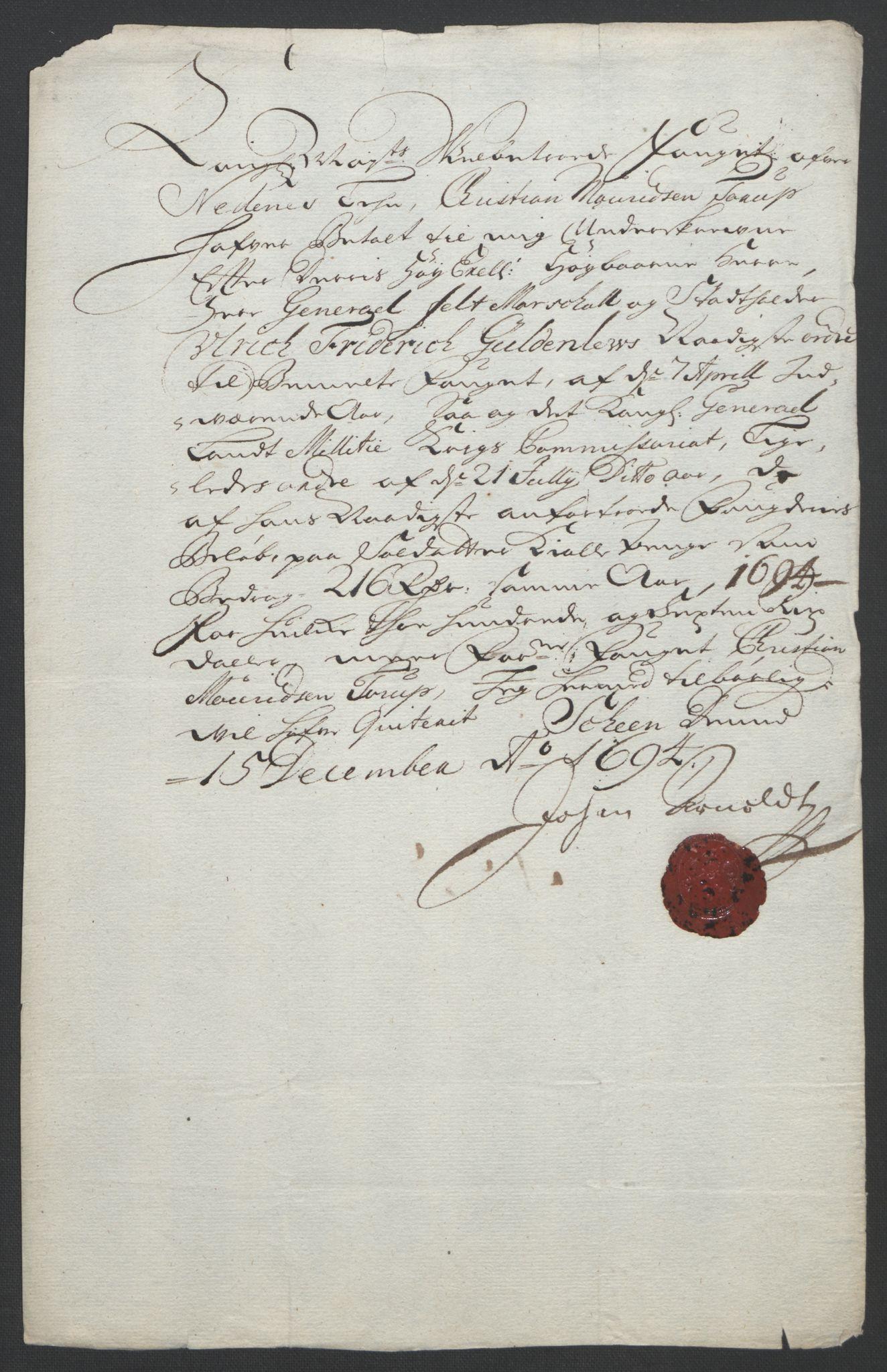 RA, Rentekammeret inntil 1814, Reviderte regnskaper, Fogderegnskap, R39/L2312: Fogderegnskap Nedenes, 1693-1695, s. 218