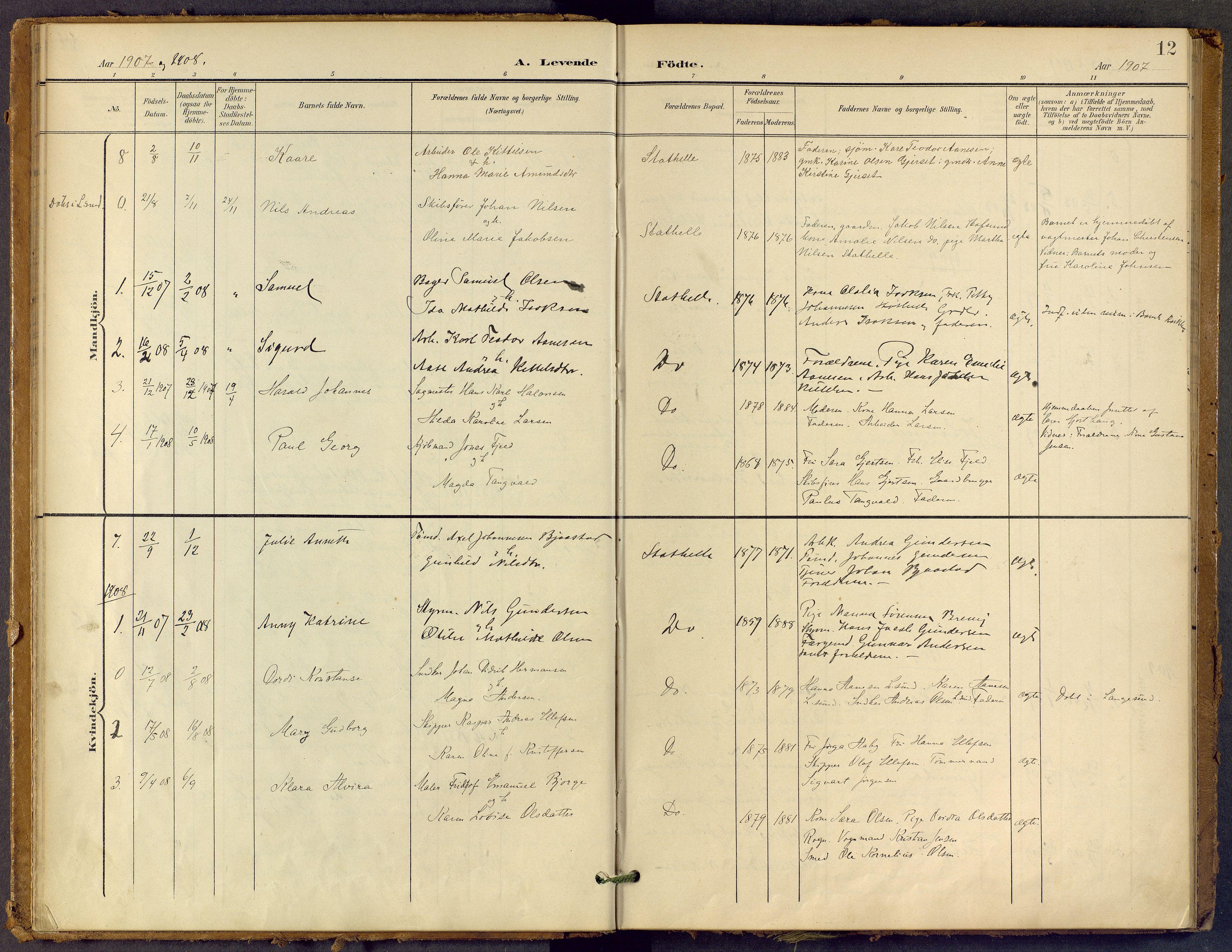 SAKO, Bamble kirkebøker, F/Fb/L0002: Ministerialbok nr. II 2, 1900-1921, s. 12