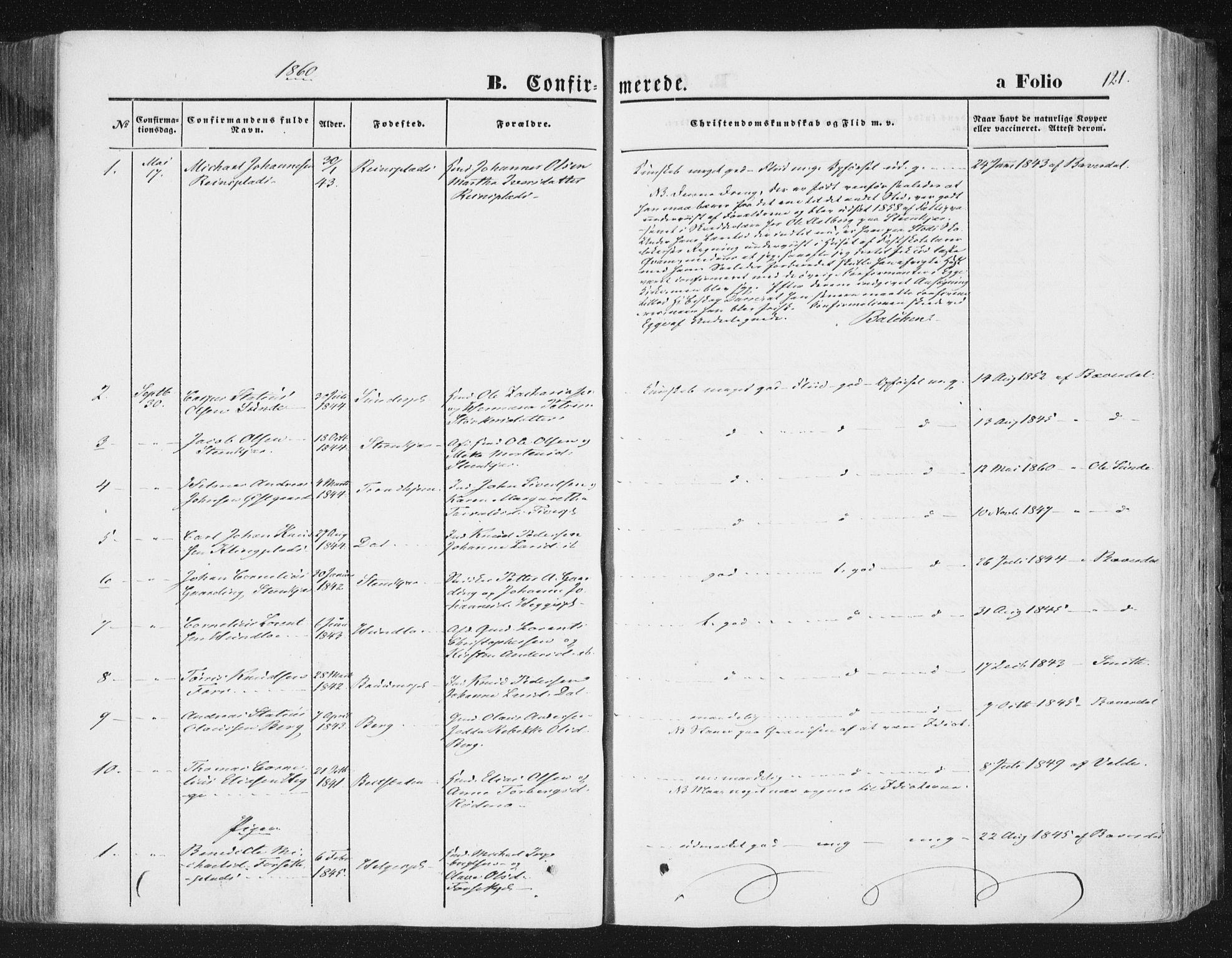 SAT, Ministerialprotokoller, klokkerbøker og fødselsregistre - Nord-Trøndelag, 746/L0447: Ministerialbok nr. 746A06, 1860-1877, s. 121