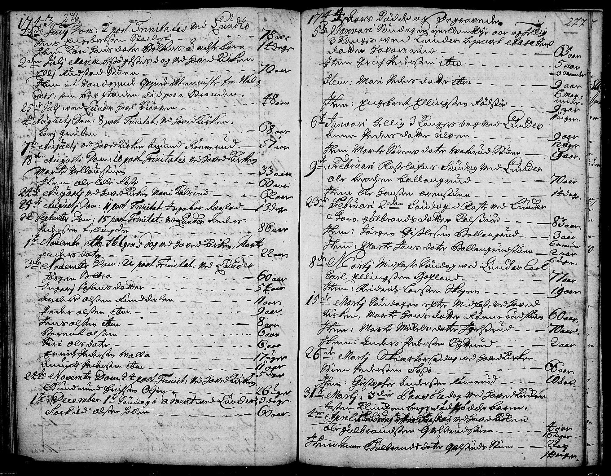 SAH, Jevnaker prestekontor, Ministerialbok nr. 2, 1725-1751, s. 276-277
