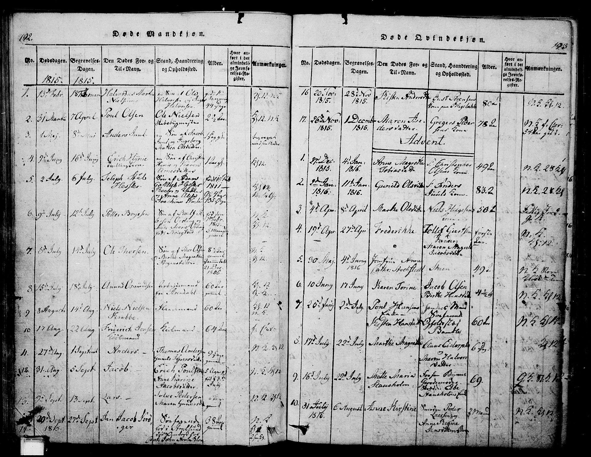 SAKO, Skien kirkebøker, G/Ga/L0002: Klokkerbok nr. 2, 1814-1842, s. 192-193