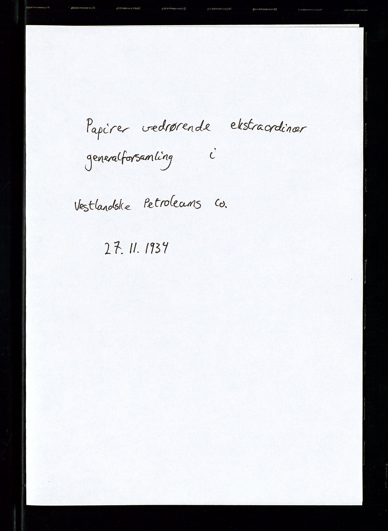 SAST, PA 1533 - A/S Vestlandske Petroleumscompani, A/Aa/L0001: Generalforsamlinger og styreprotokoller, 1934-1938, s. 27
