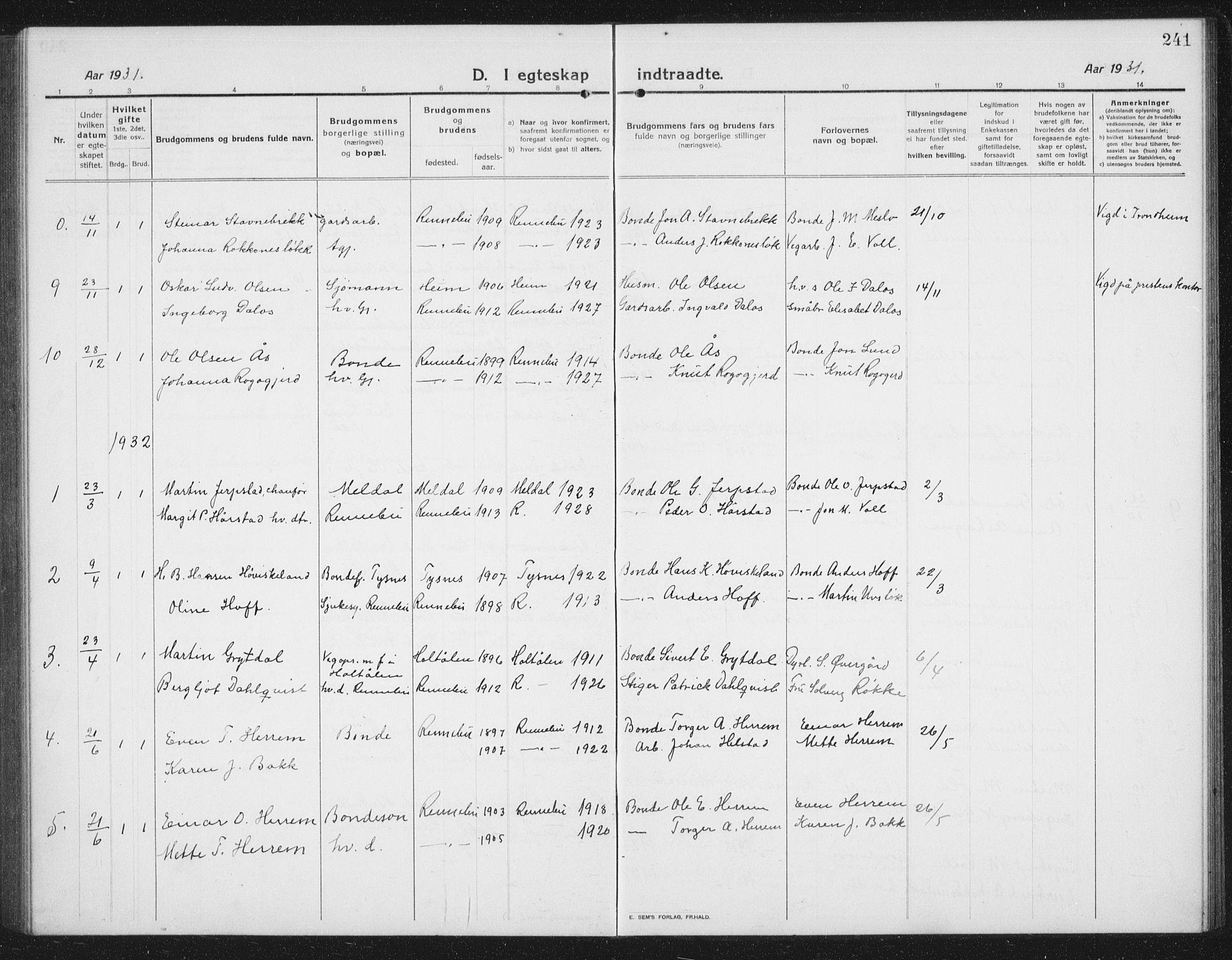 SAT, Ministerialprotokoller, klokkerbøker og fødselsregistre - Sør-Trøndelag, 674/L0877: Klokkerbok nr. 674C04, 1913-1940, s. 241