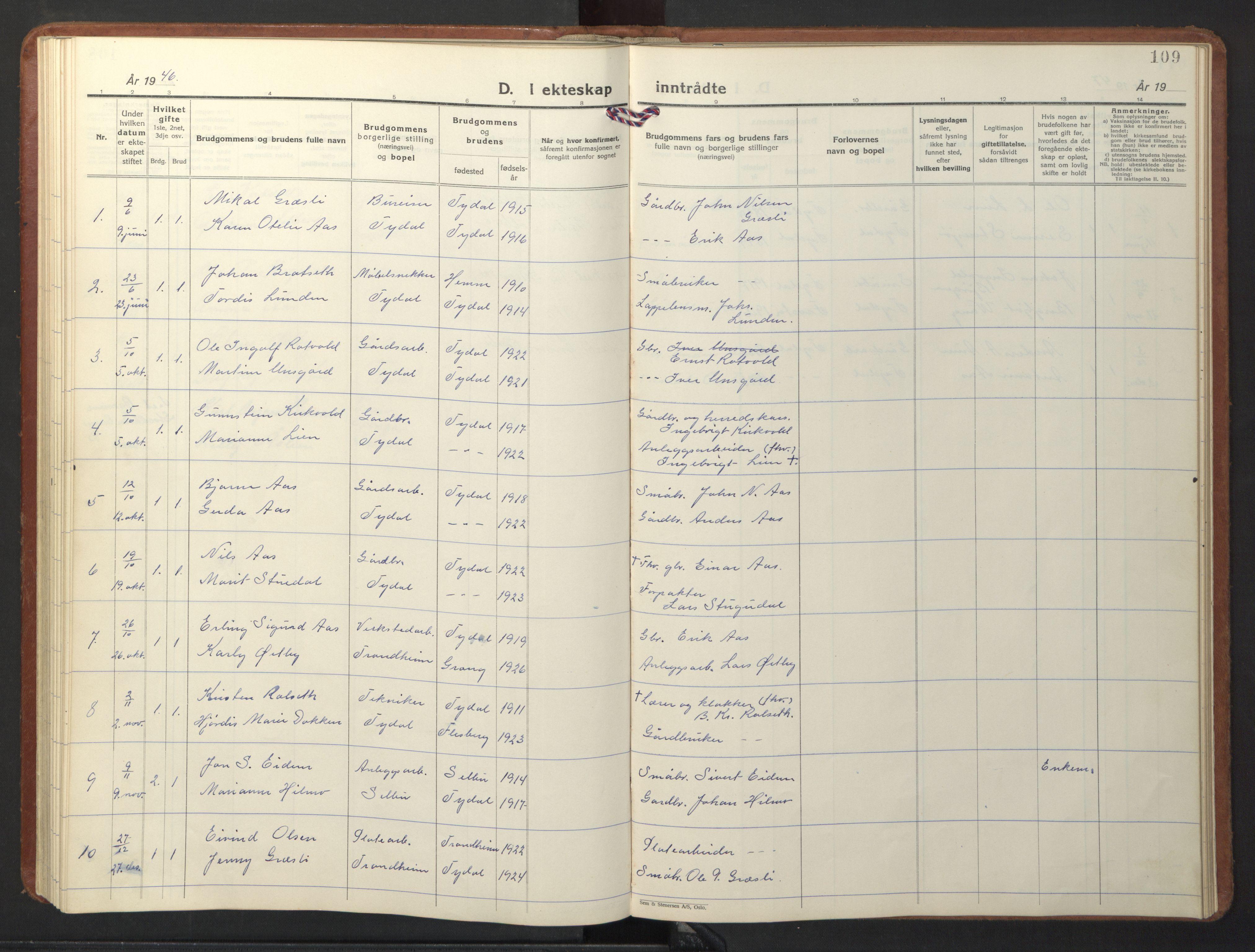 SAT, Ministerialprotokoller, klokkerbøker og fødselsregistre - Sør-Trøndelag, 698/L1169: Klokkerbok nr. 698C06, 1930-1949, s. 109