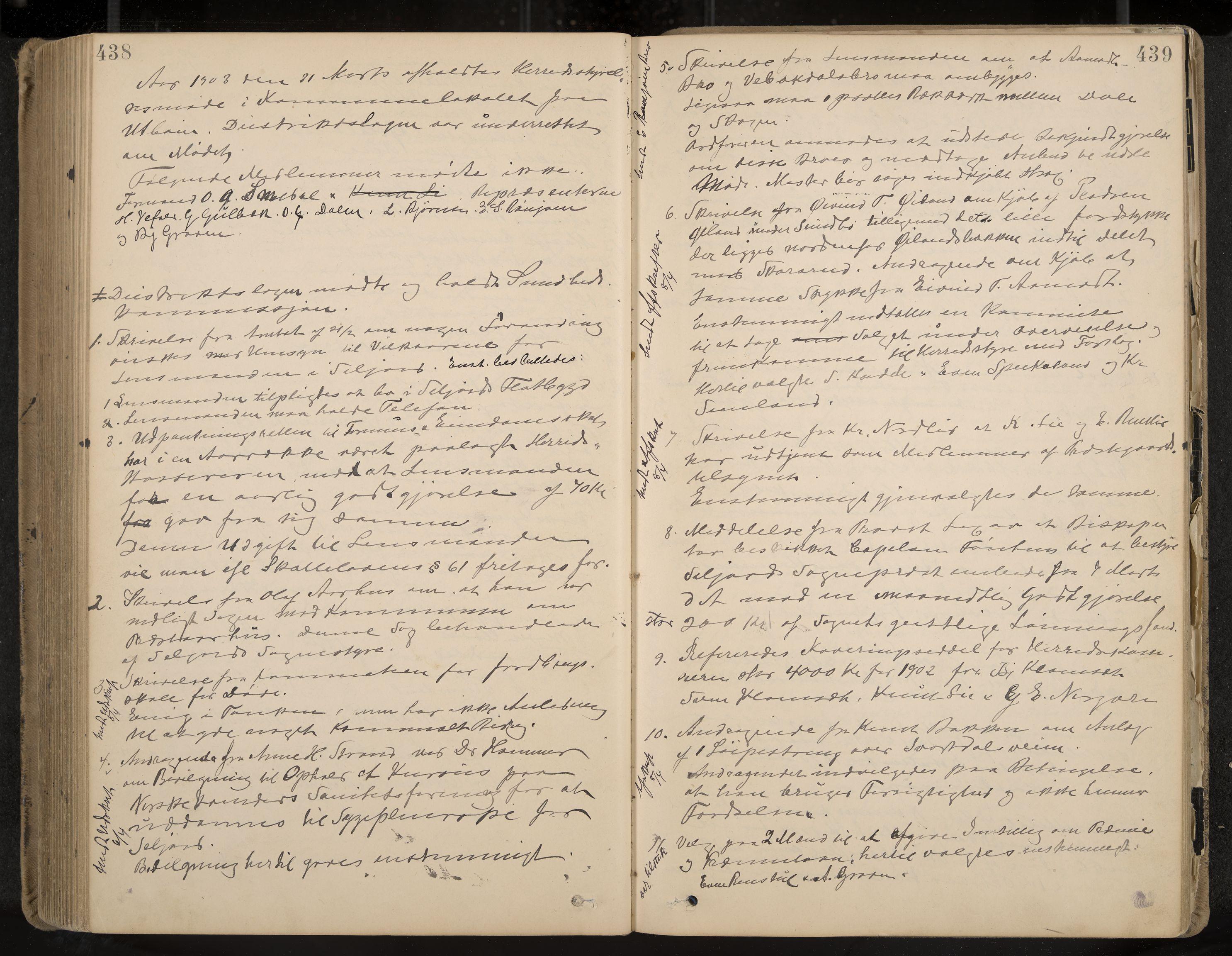 IKAK, Seljord formannskap og sentraladministrasjon, A/Aa/L0003: Møtebok med register, 1891-1905, s. 438-439