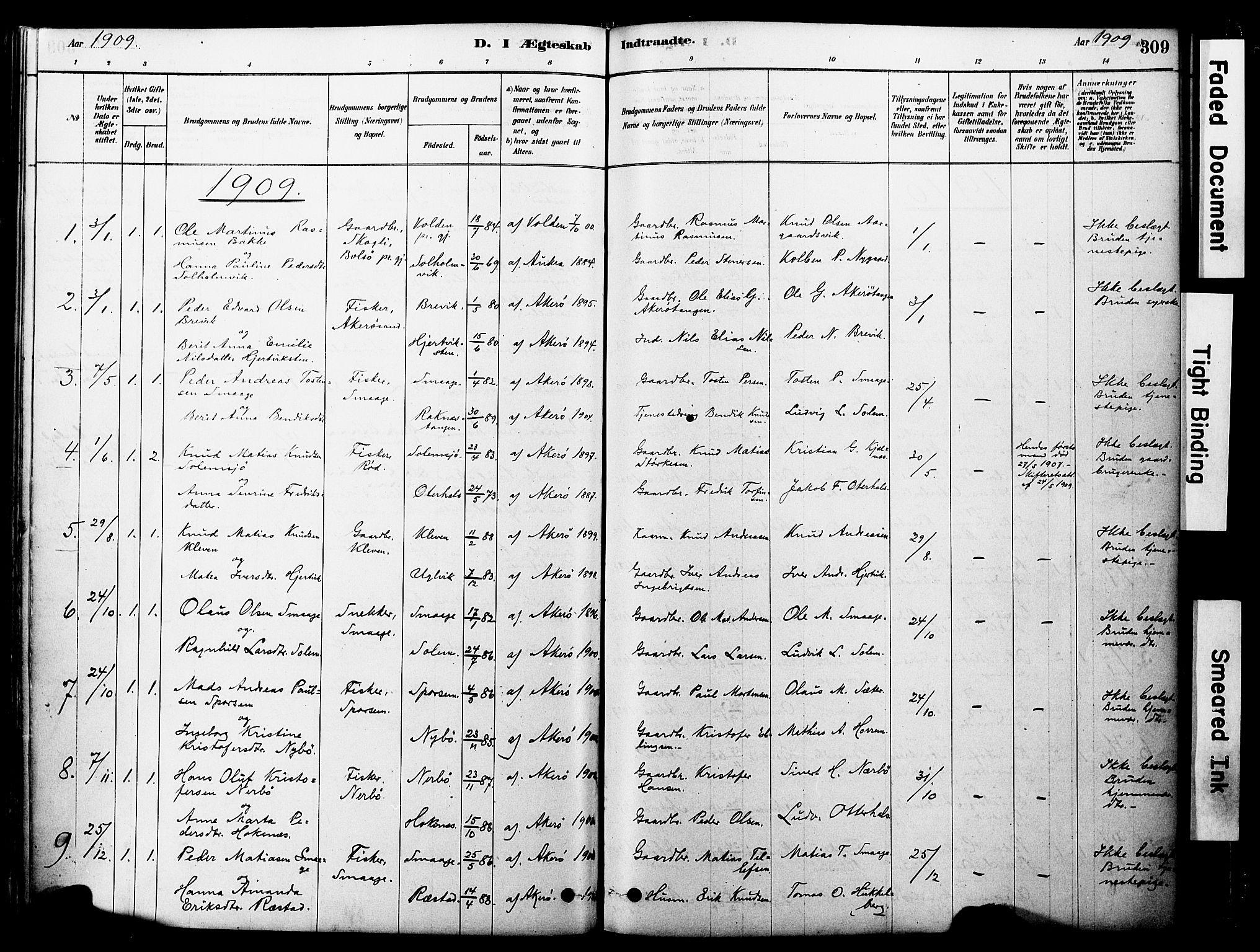 SAT, Ministerialprotokoller, klokkerbøker og fødselsregistre - Møre og Romsdal, 560/L0721: Ministerialbok nr. 560A05, 1878-1917, s. 309