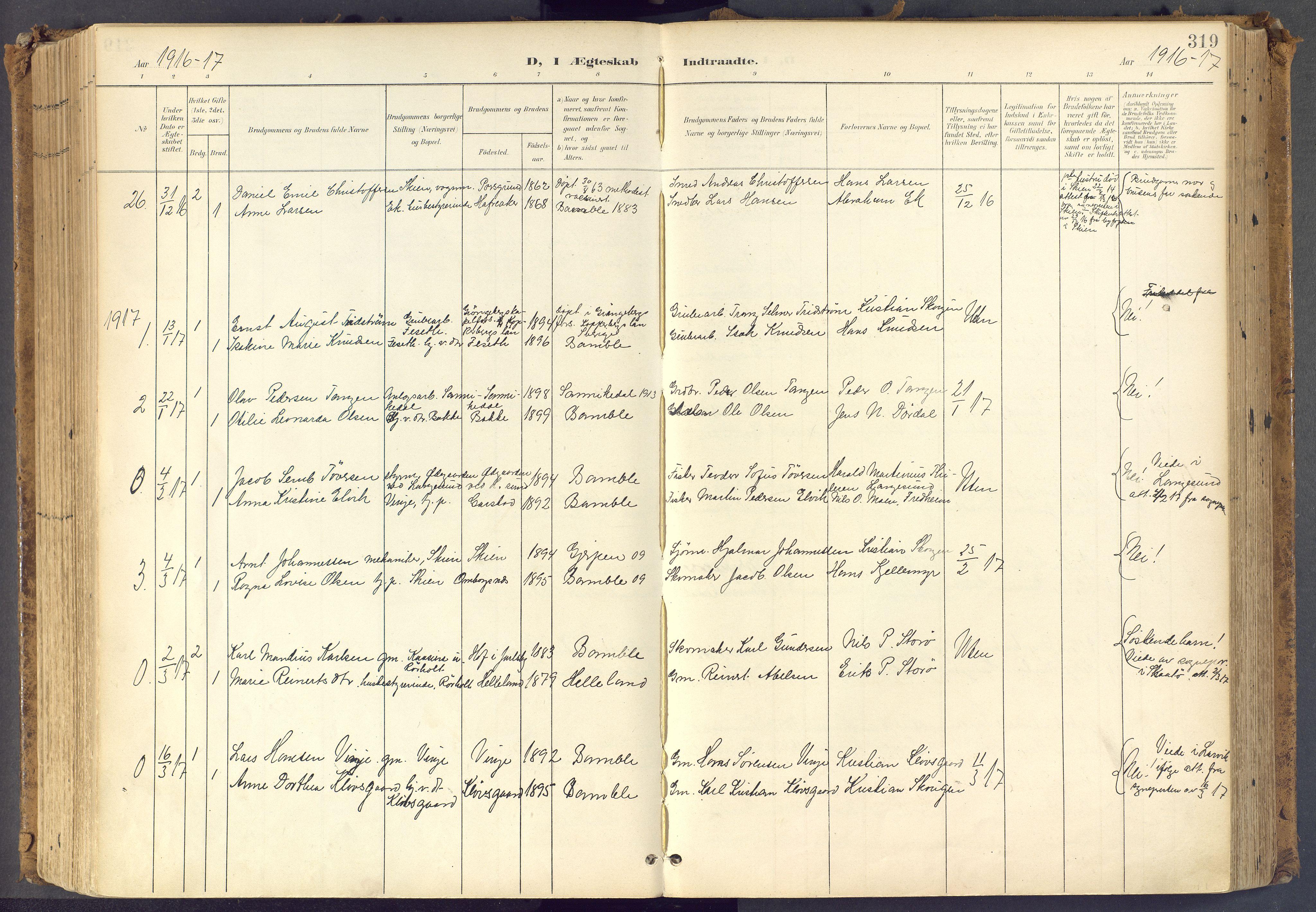 SAKO, Bamble kirkebøker, F/Fa/L0009: Ministerialbok nr. I 9, 1901-1917, s. 319