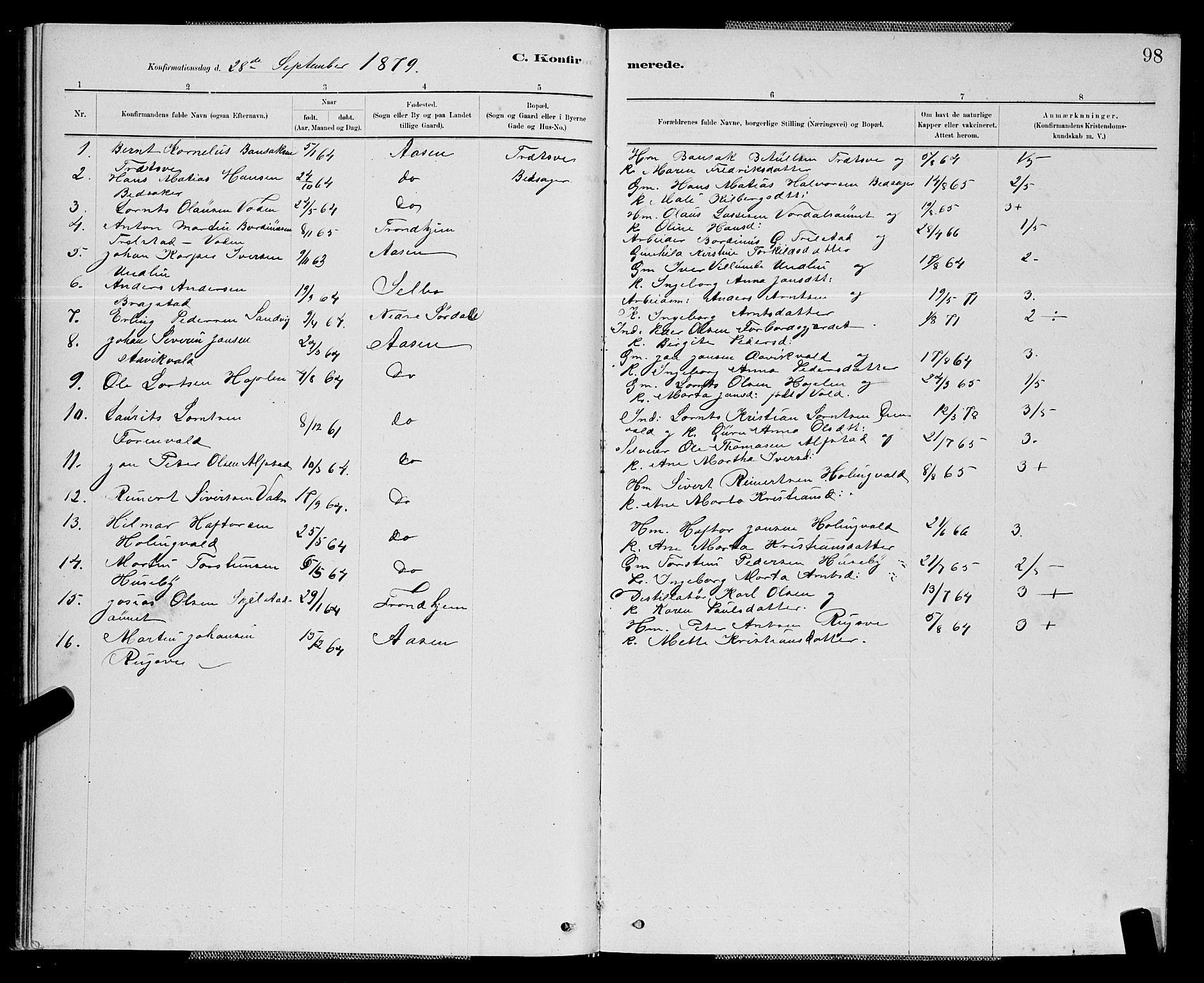 SAT, Ministerialprotokoller, klokkerbøker og fødselsregistre - Nord-Trøndelag, 714/L0134: Klokkerbok nr. 714C03, 1878-1898, s. 98