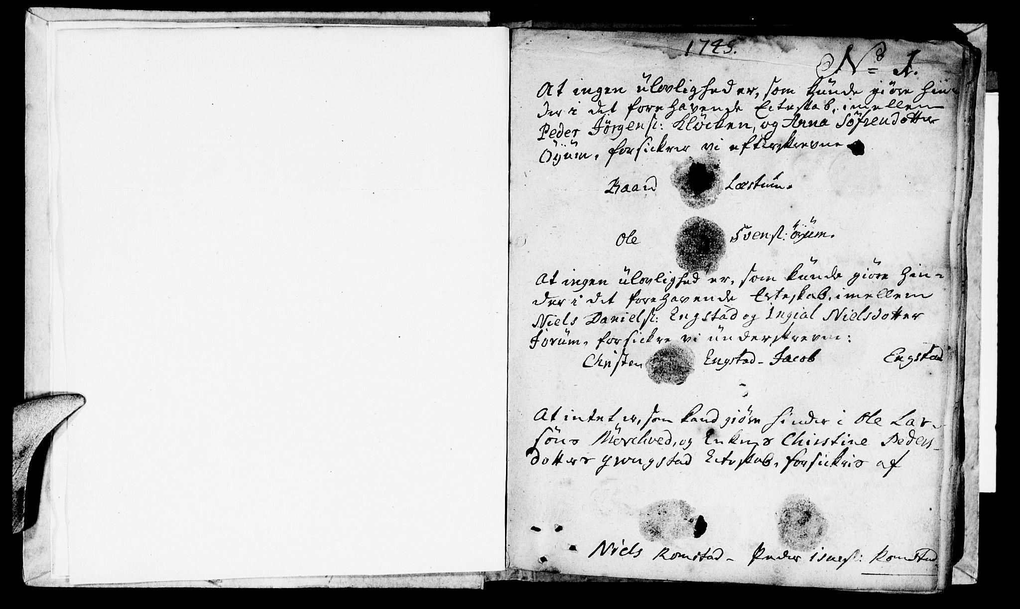 SAT, Ministerialprotokoller, klokkerbøker og fødselsregistre - Nord-Trøndelag, 764/L0541: Ministerialbok nr. 764A01, 1745-1758, s. 1