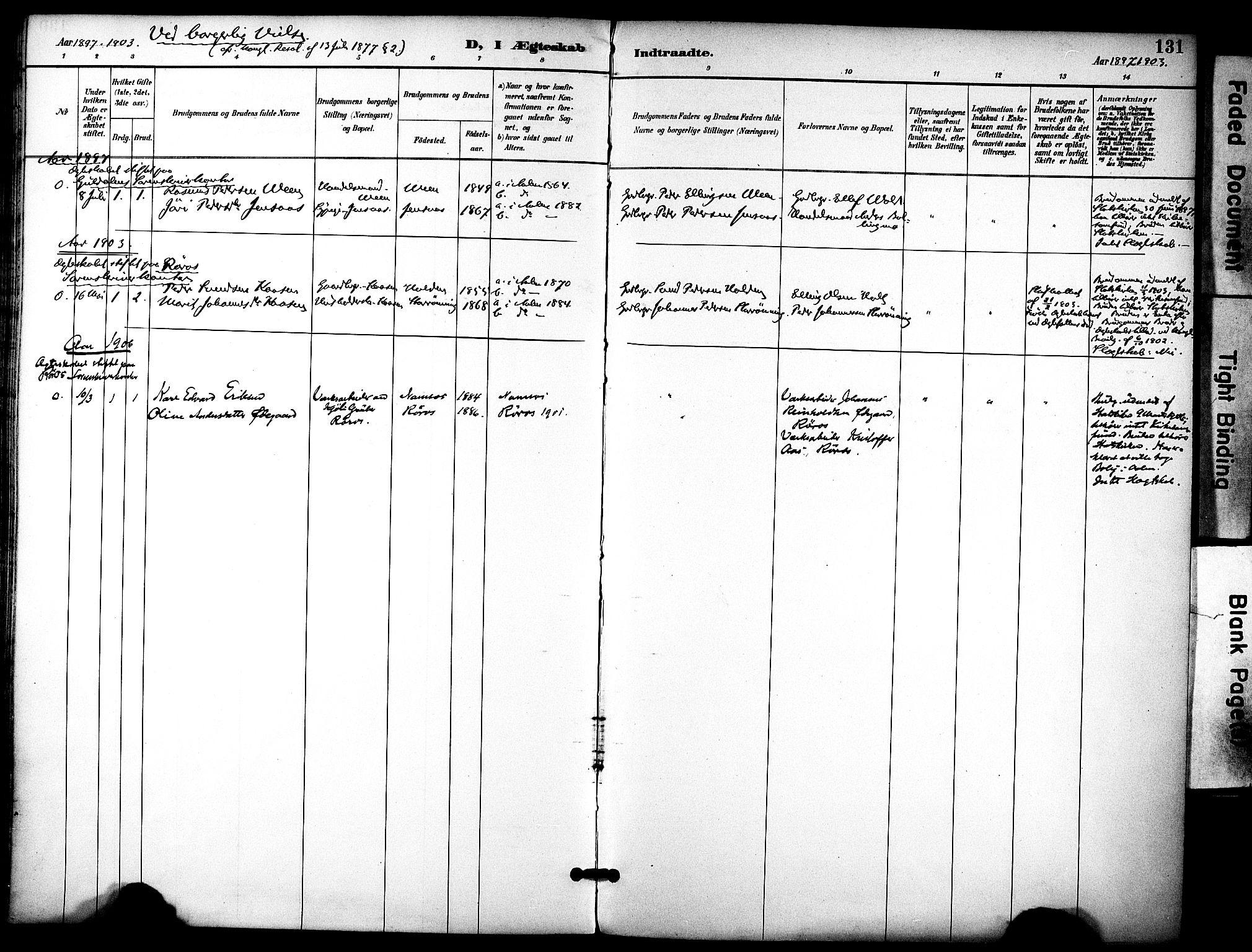 SAT, Ministerialprotokoller, klokkerbøker og fødselsregistre - Sør-Trøndelag, 686/L0984: Ministerialbok nr. 686A02, 1891-1906, s. 131