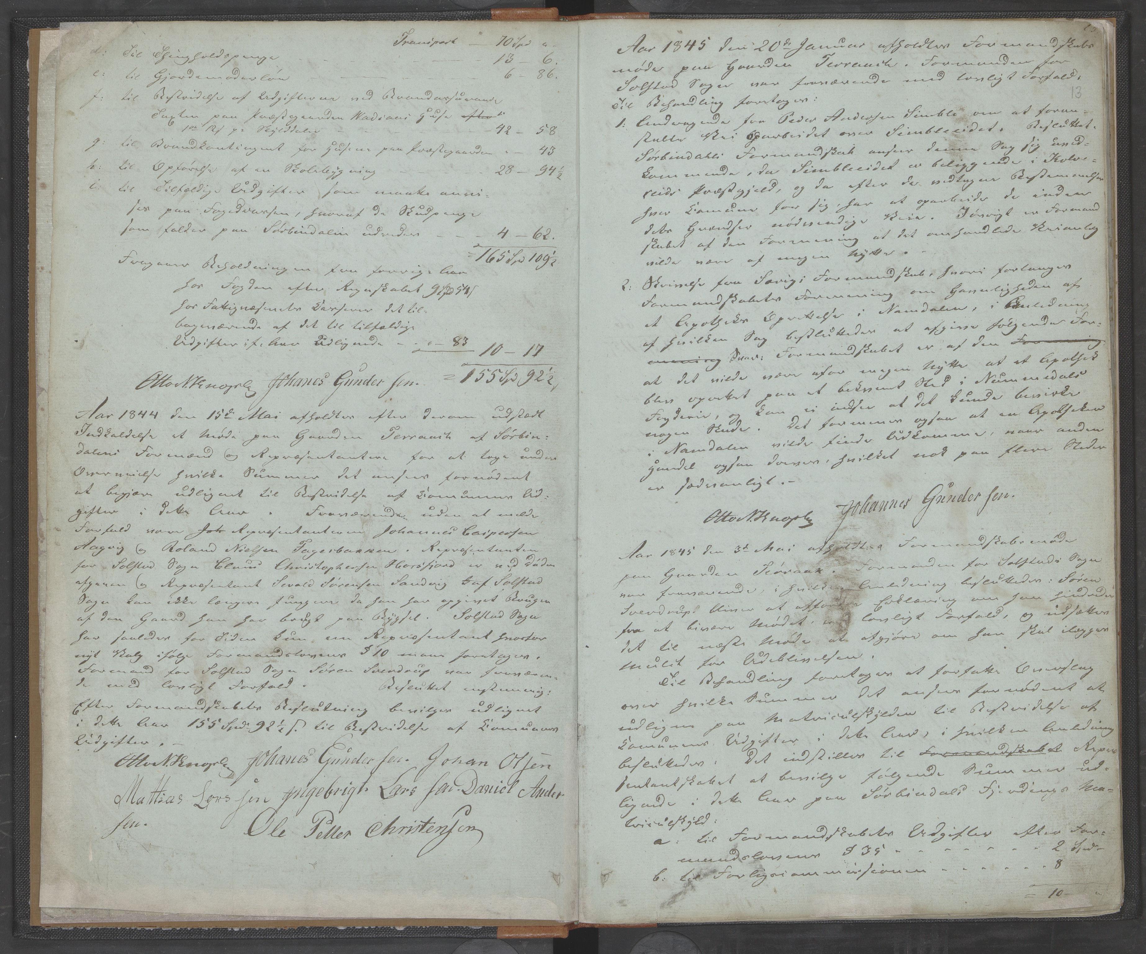 AIN, Bindal kommune. Formannskapet, A/Aa/L0000a: Møtebok, 1843-1881, s. 13