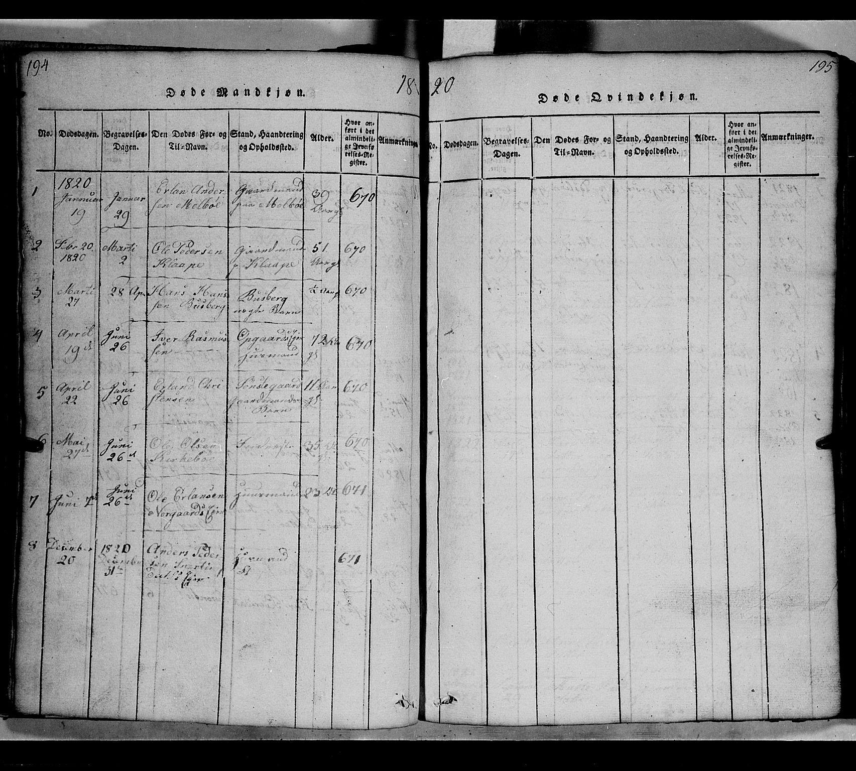 SAH, Gausdal prestekontor, Klokkerbok nr. 2, 1818-1874, s. 194-195